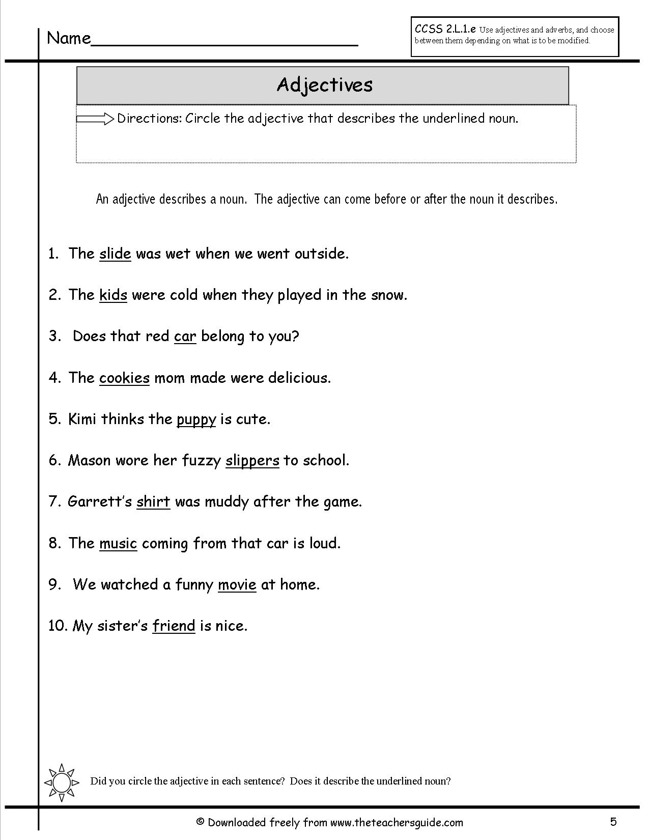 Comparison Adjectives Worksheet For Kindergarten