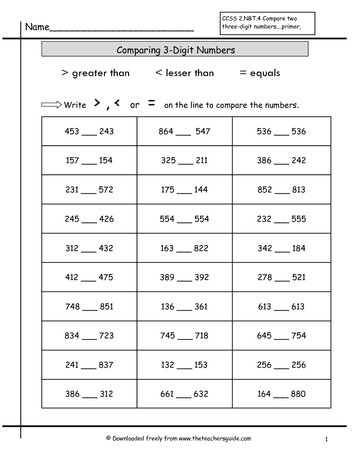 11 Best Images Of Comparing Place Value Worksheets