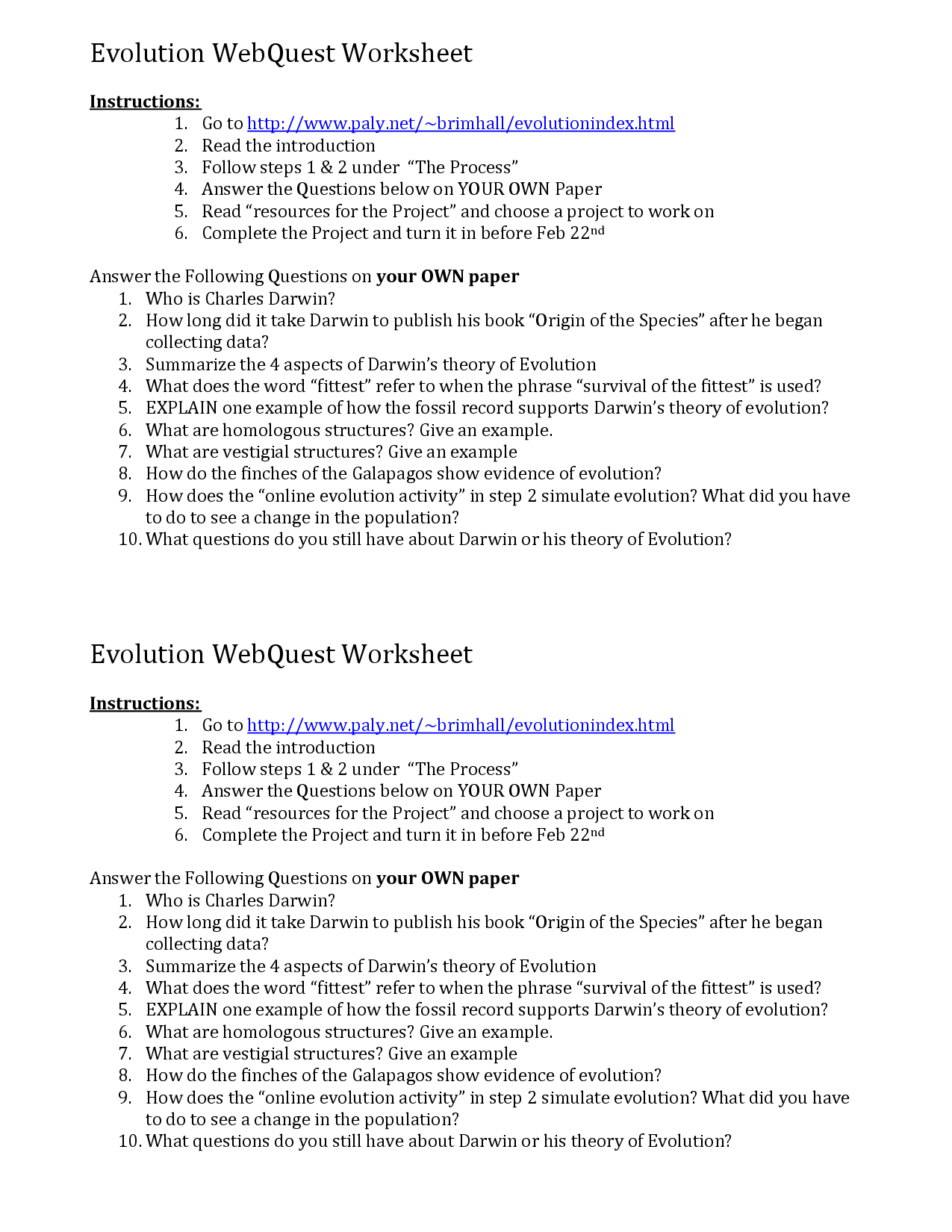 17 Best Images Of Theory Of Evolution Worksheets