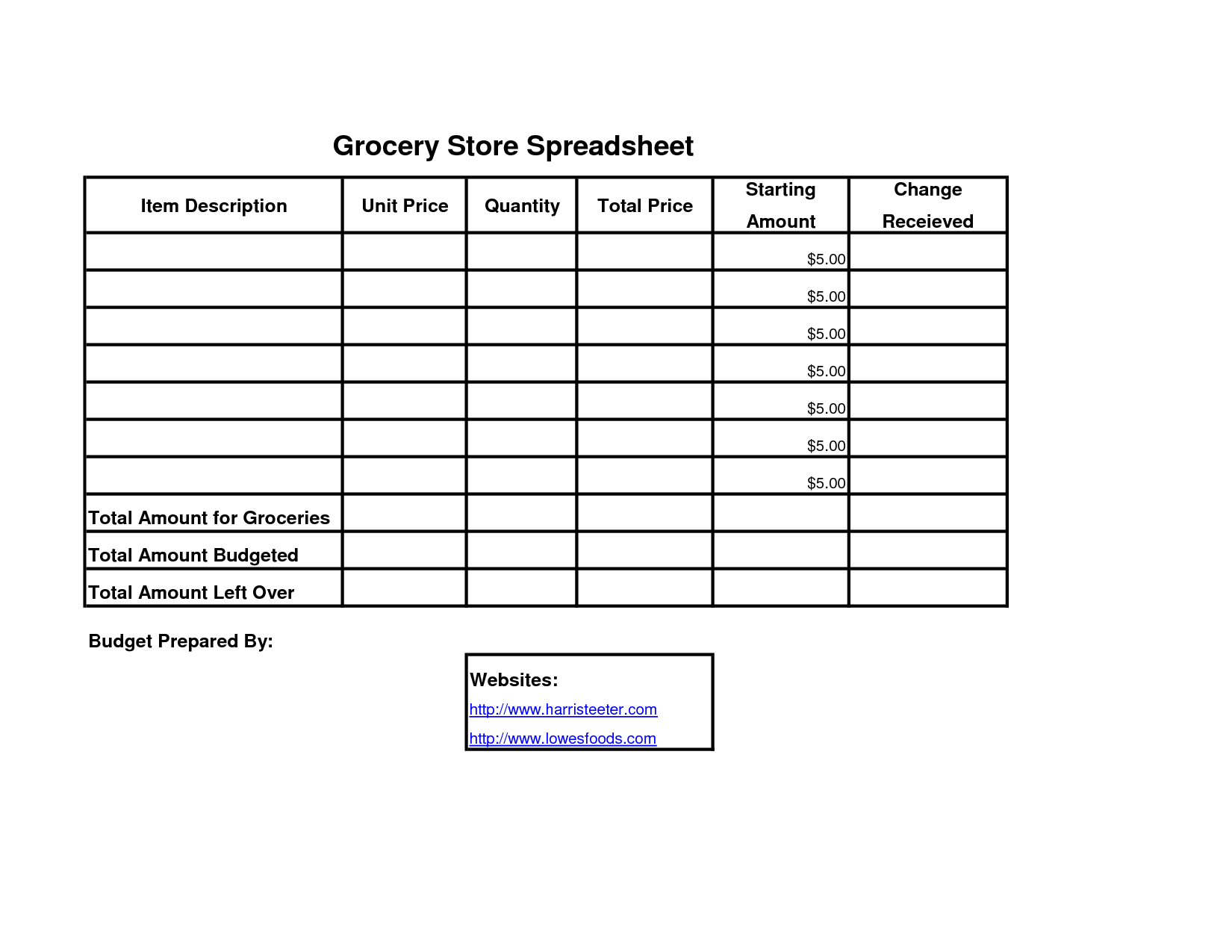 14 Best Images Of Grocery Shopping Budget Worksheet