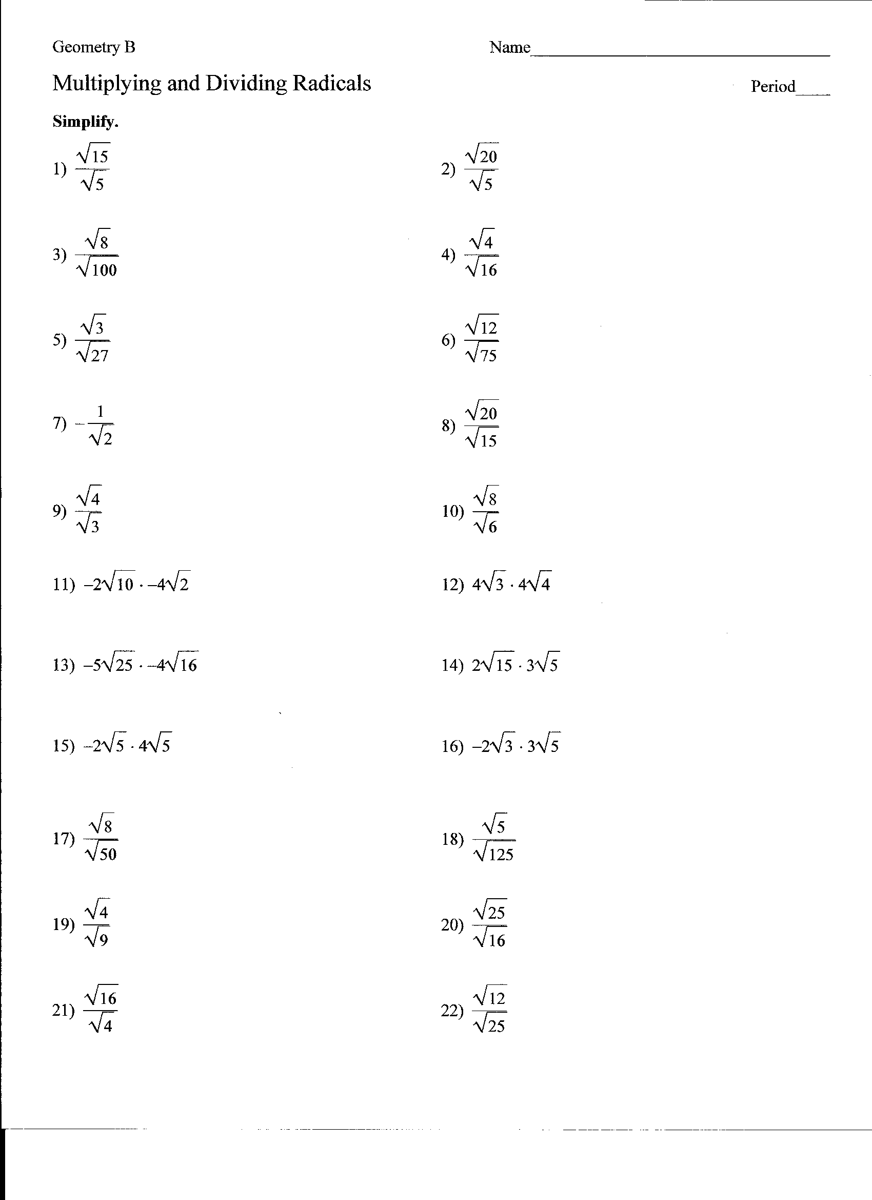 31 Adding Subtracting And Multiplying Radicals Worksheet