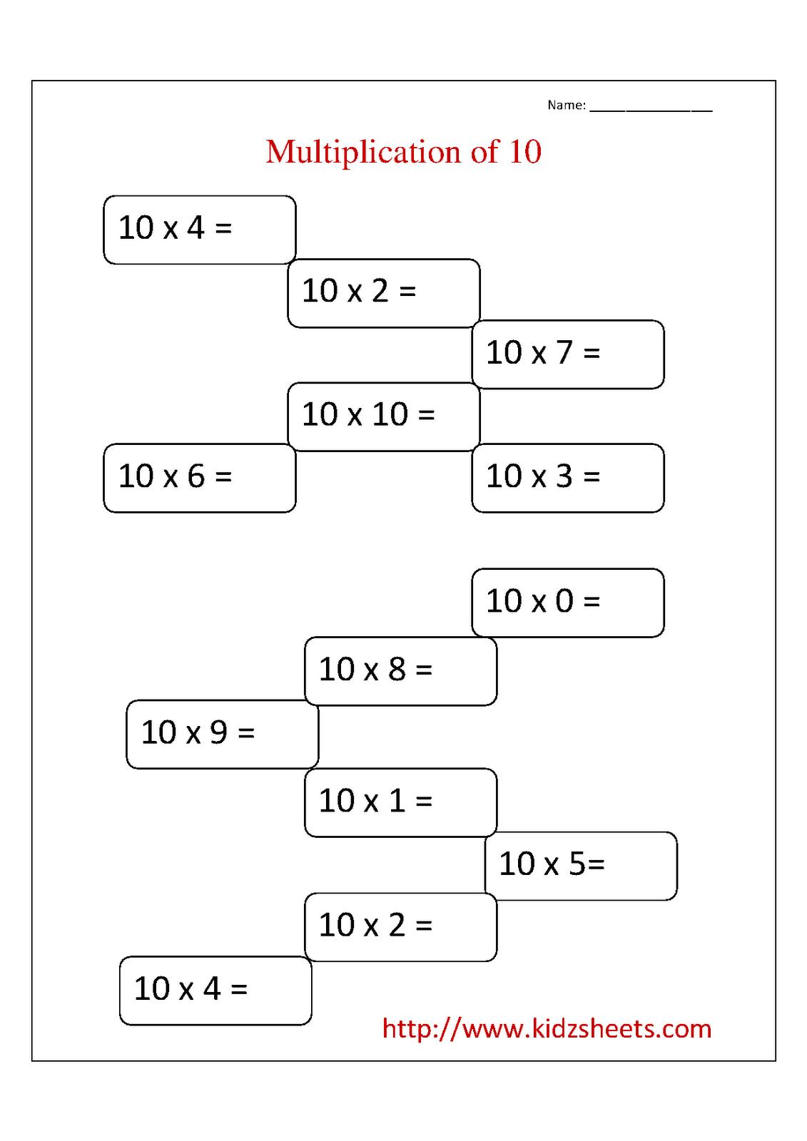 16 Best Images Of Multiplication Worksheets 1 10