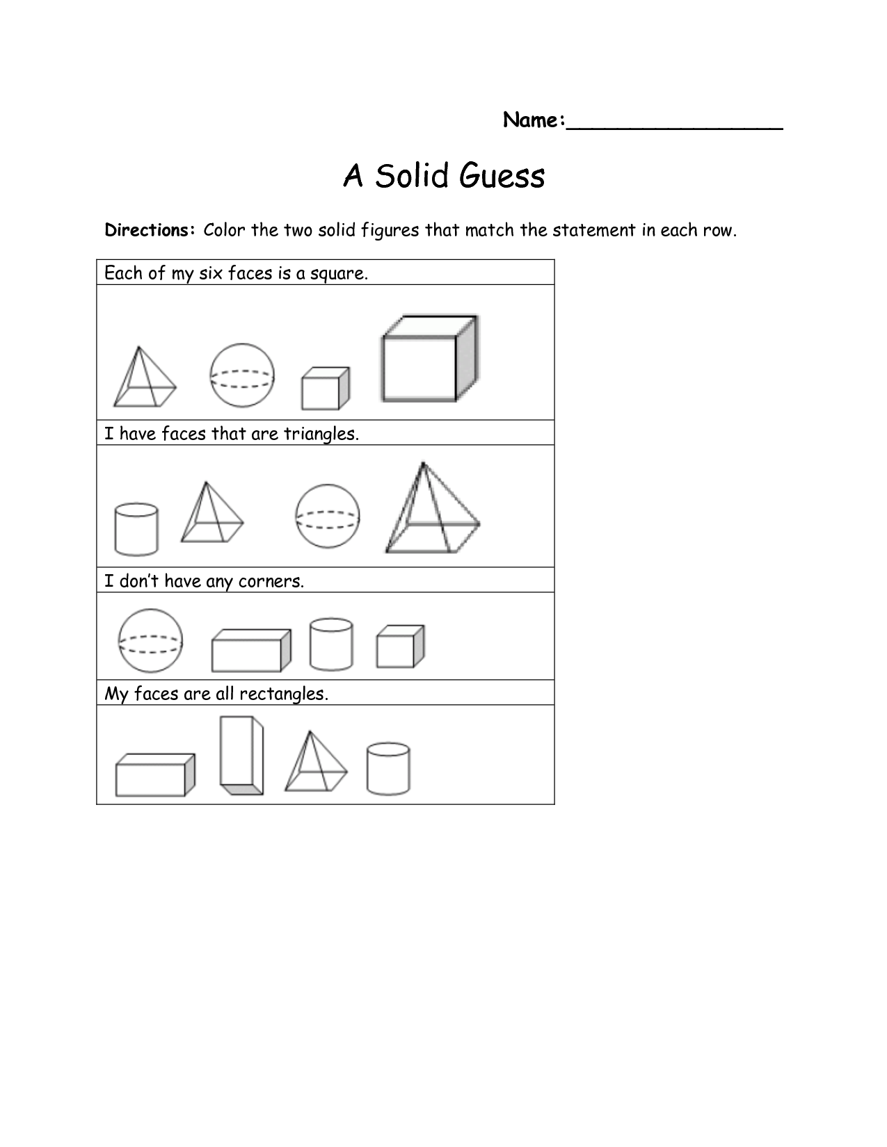 9 Best Images Of Nets Of Solids Worksheet