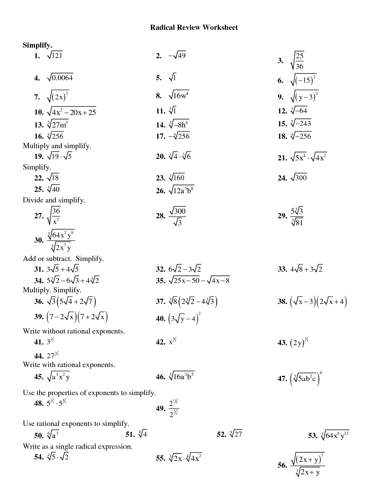 19 Best Images Of Multiplying And Dividing Radicals Worksheets