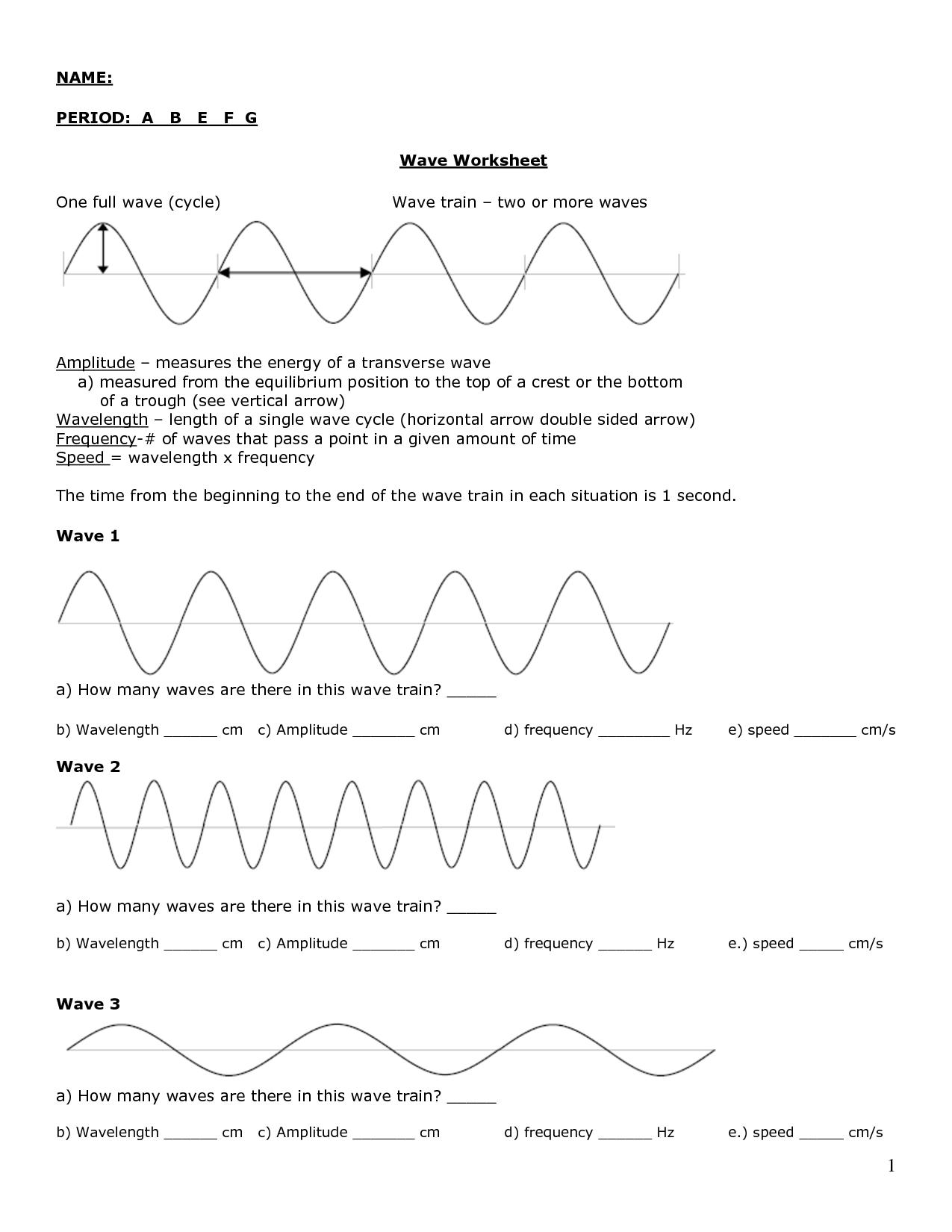 12 Best Images Of Labeling Waves Worksheet Answer Key 1 17