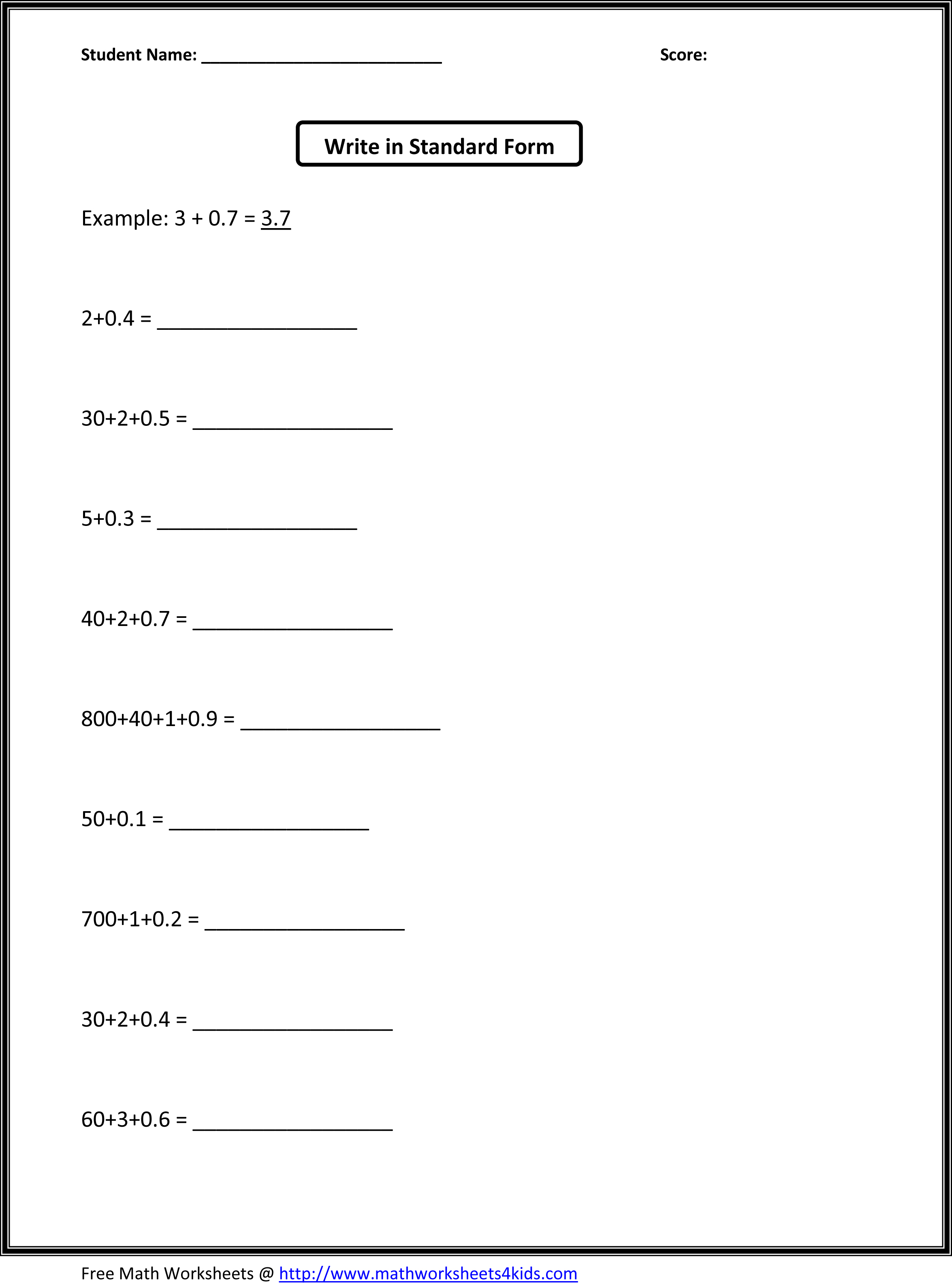 12 Best Images Of Basic High School Math Worksheets