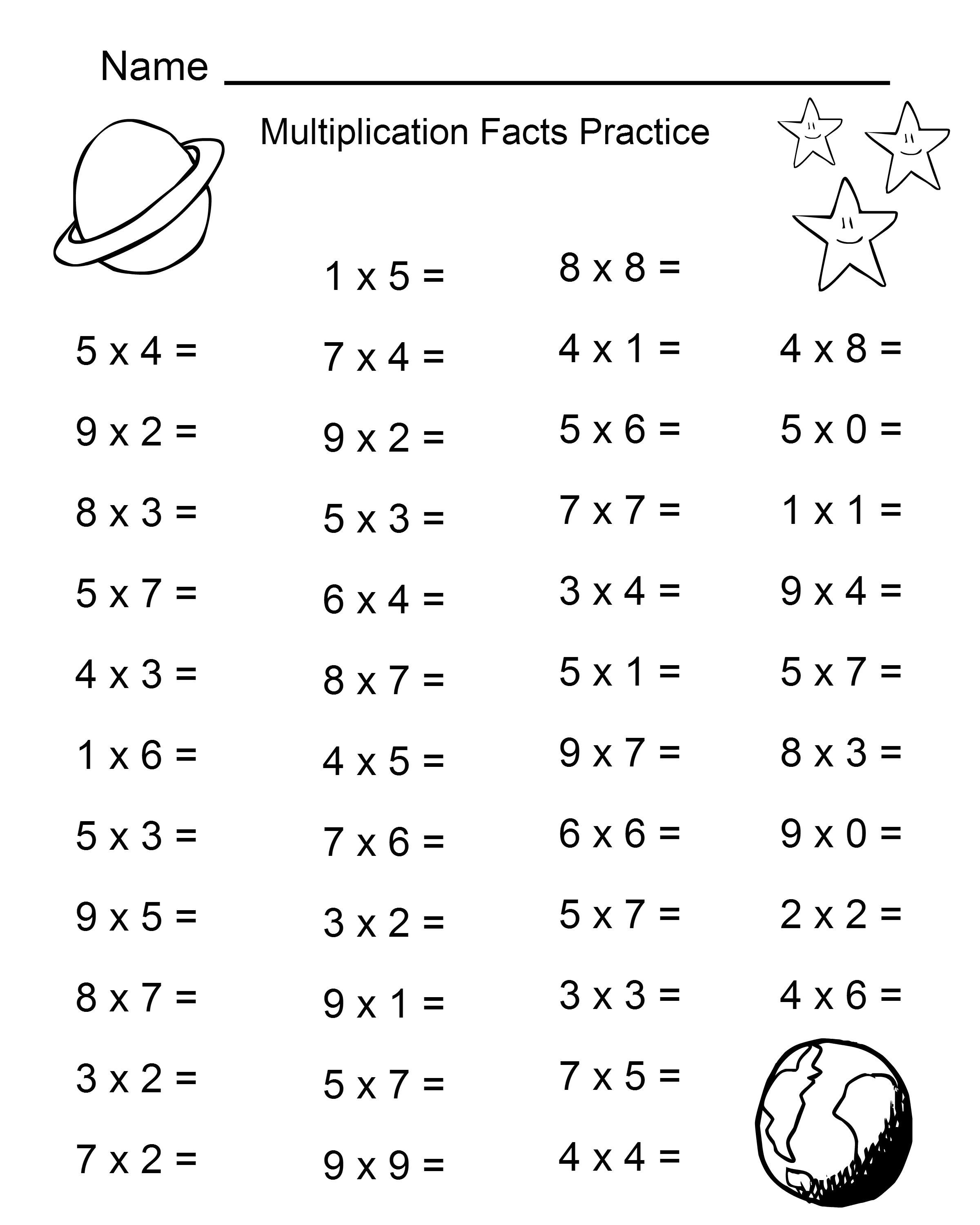 Christmas Multiplication Worksheets Third Grade