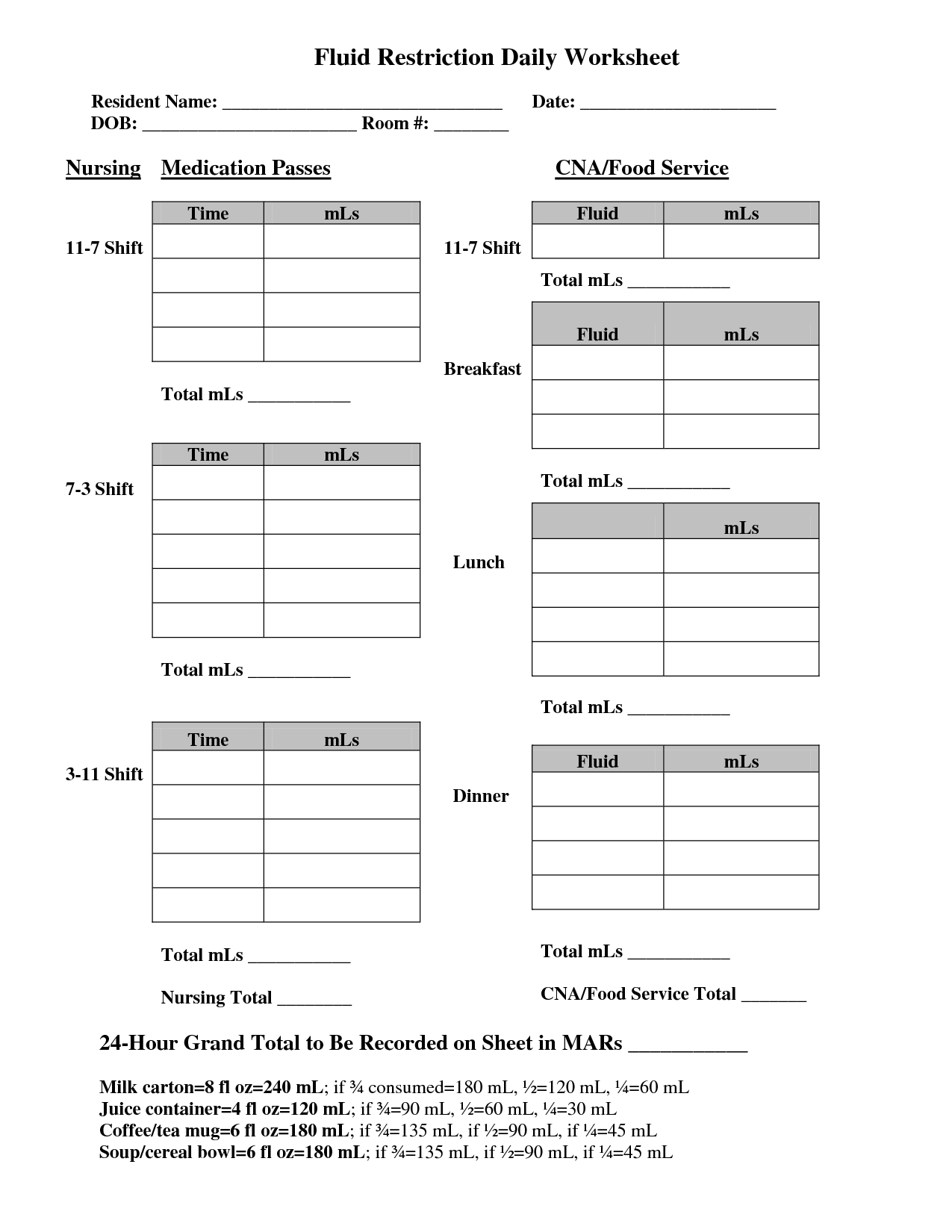 School Nurse Worksheets