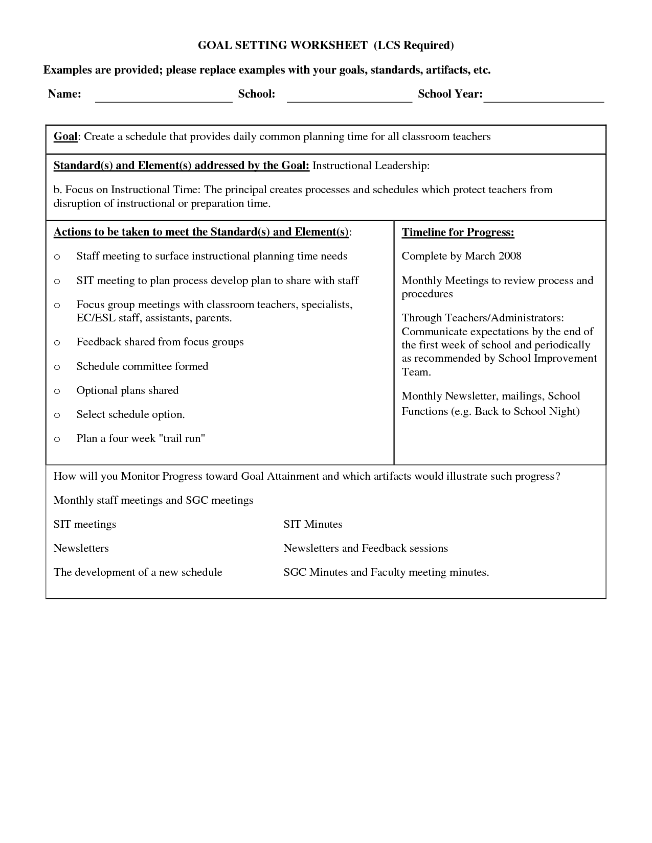 13 Best Images Of Setting Short Term Goals Worksheet