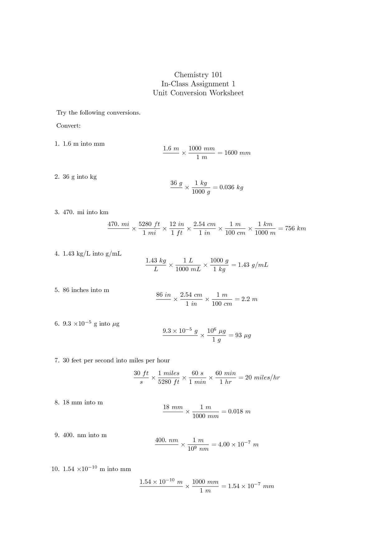 Chemistry Unit 2 Worksheet 1
