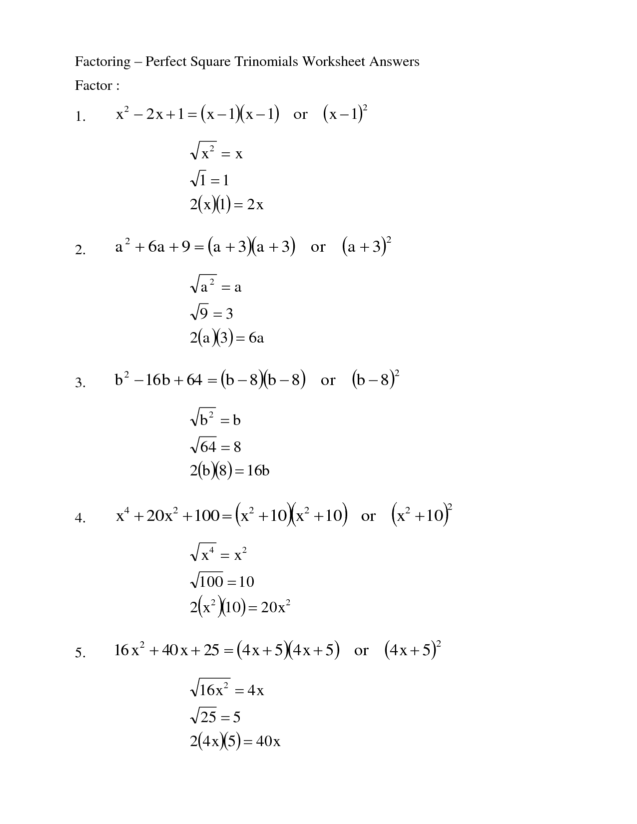 13 Best Images Of Printable Factoring Trinomials Worksheet