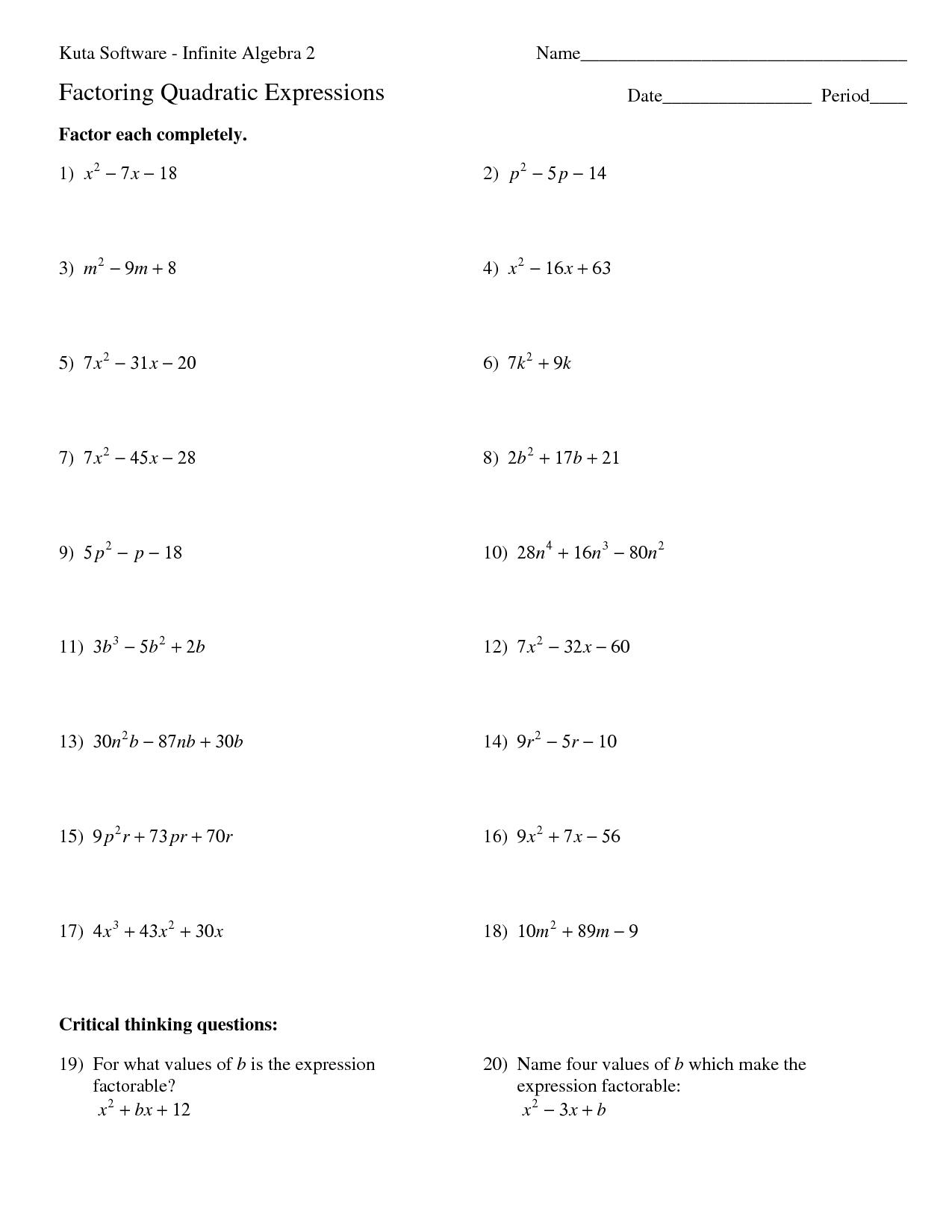 10 Best Images Of Factoring Trinomials Practice Worksheet