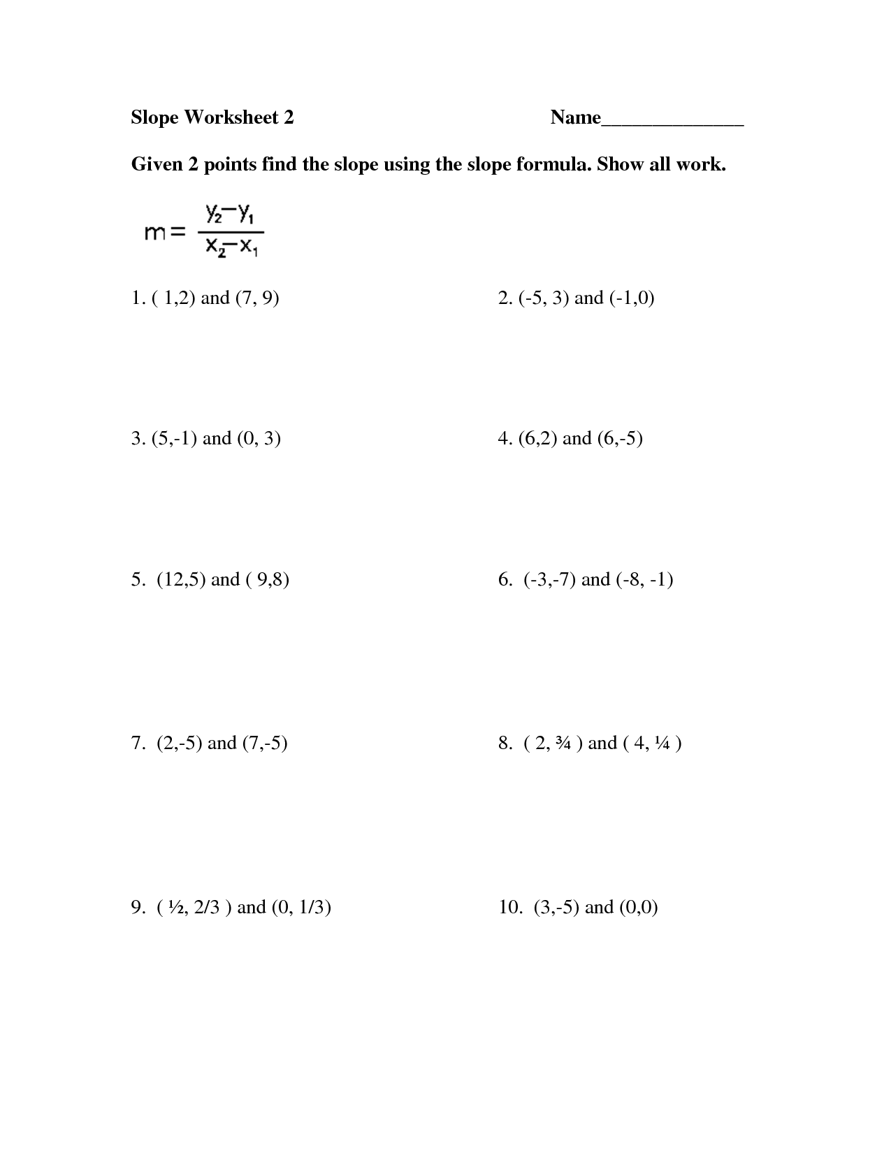 Free Worksheets Finding Slope Given Two Points