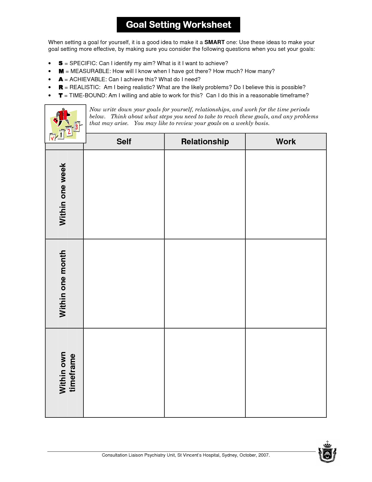 Avid Goals Visualizing Worksheet