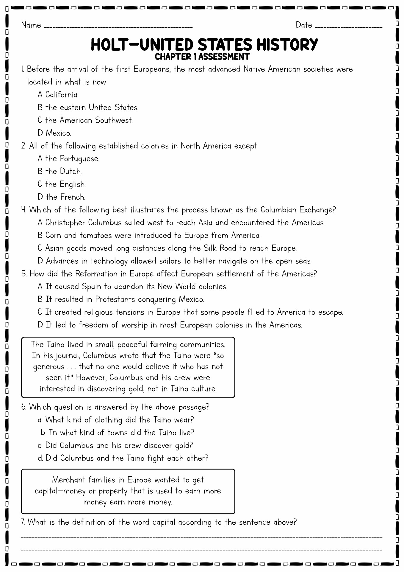 15 Best Images Of U S History Worksheets