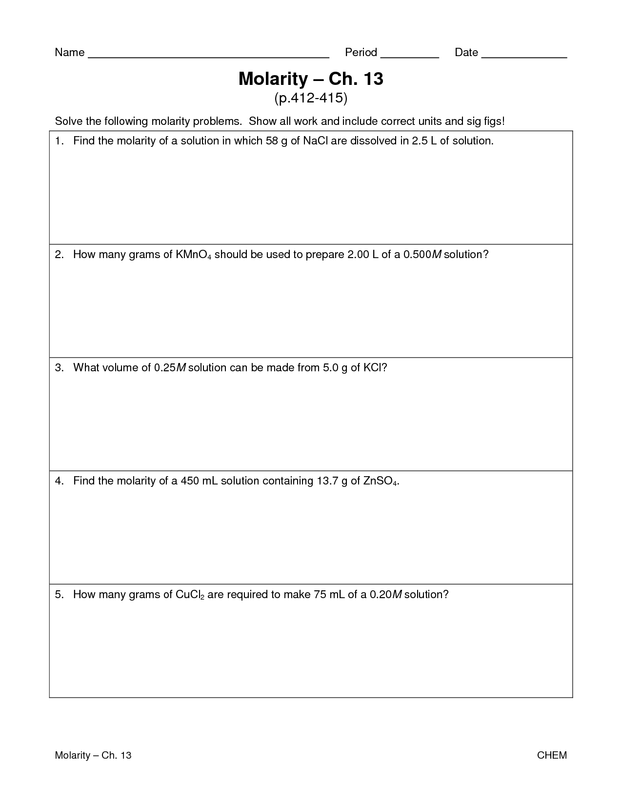 7 Best Images Of Molarity Worksheet With Answers