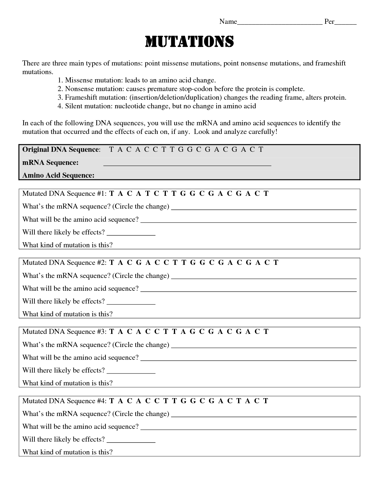 17 Best Images Of Dna Mutations Practice Worksheet Page 2