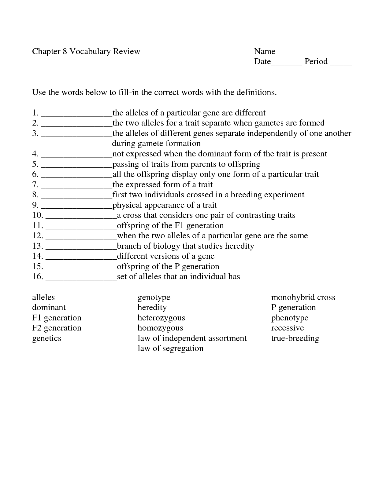 7 Best Images Of Genetics Word Search Worksheet
