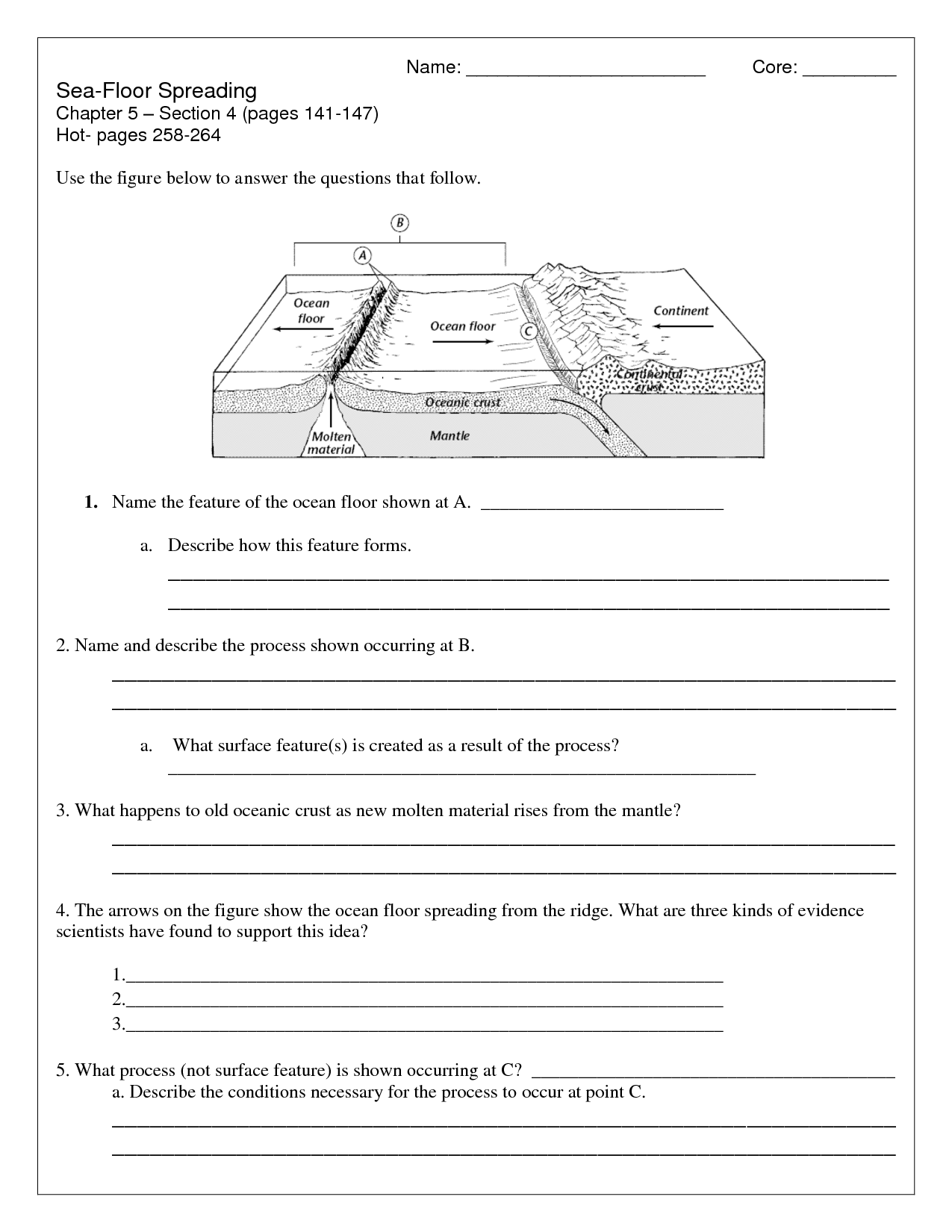 Ocean Floor Landform Worksheet