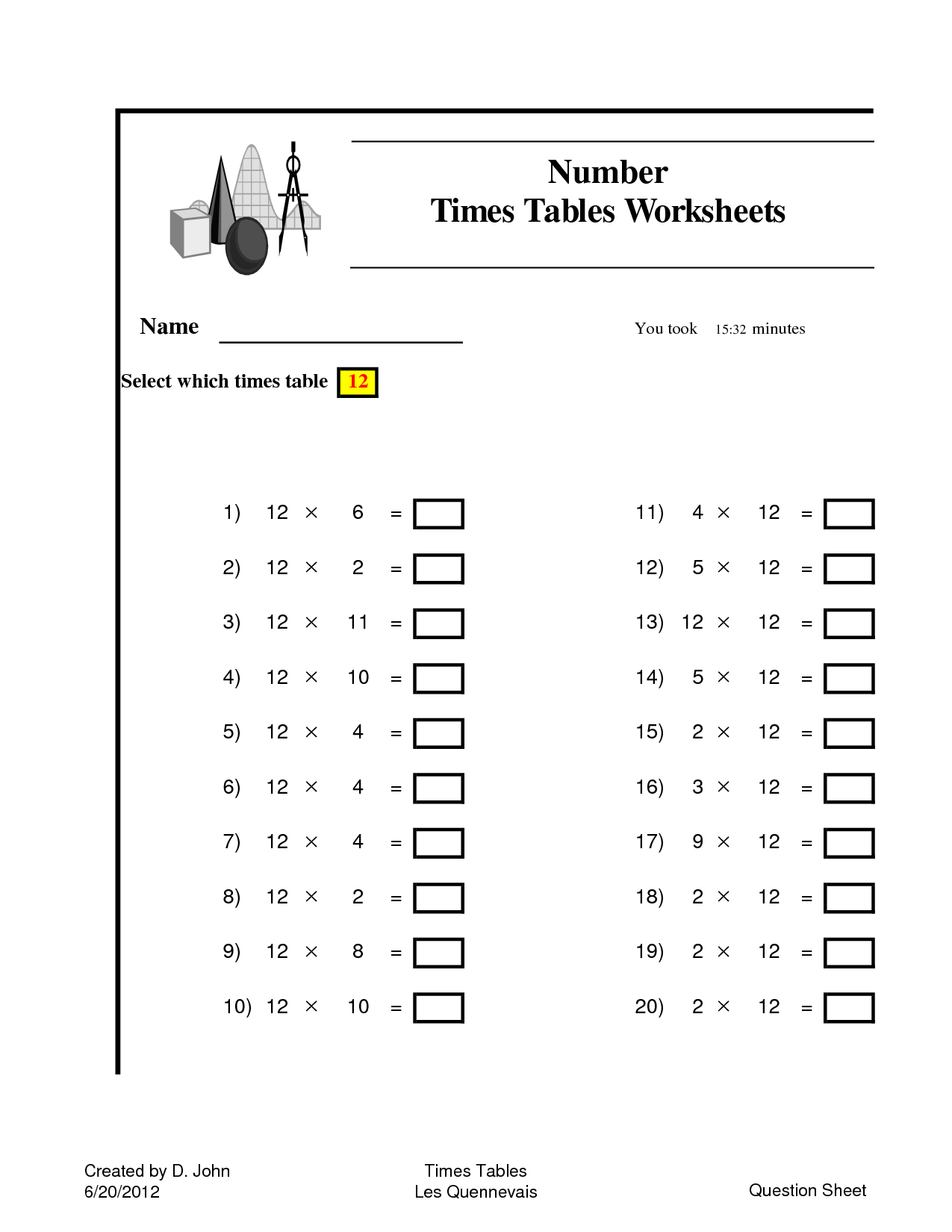 10 Best Images Of 11 Times Table Worksheet