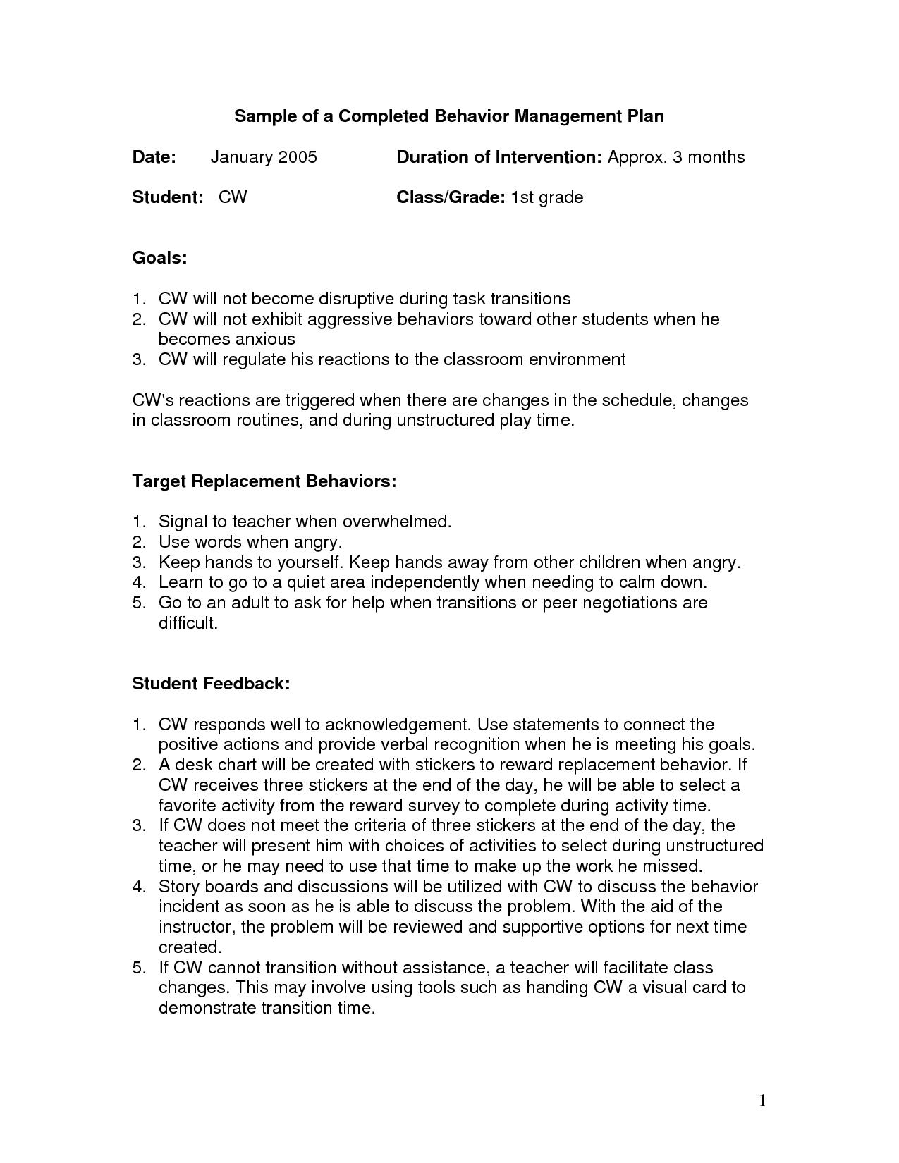 Sample High School Behavior Plan
