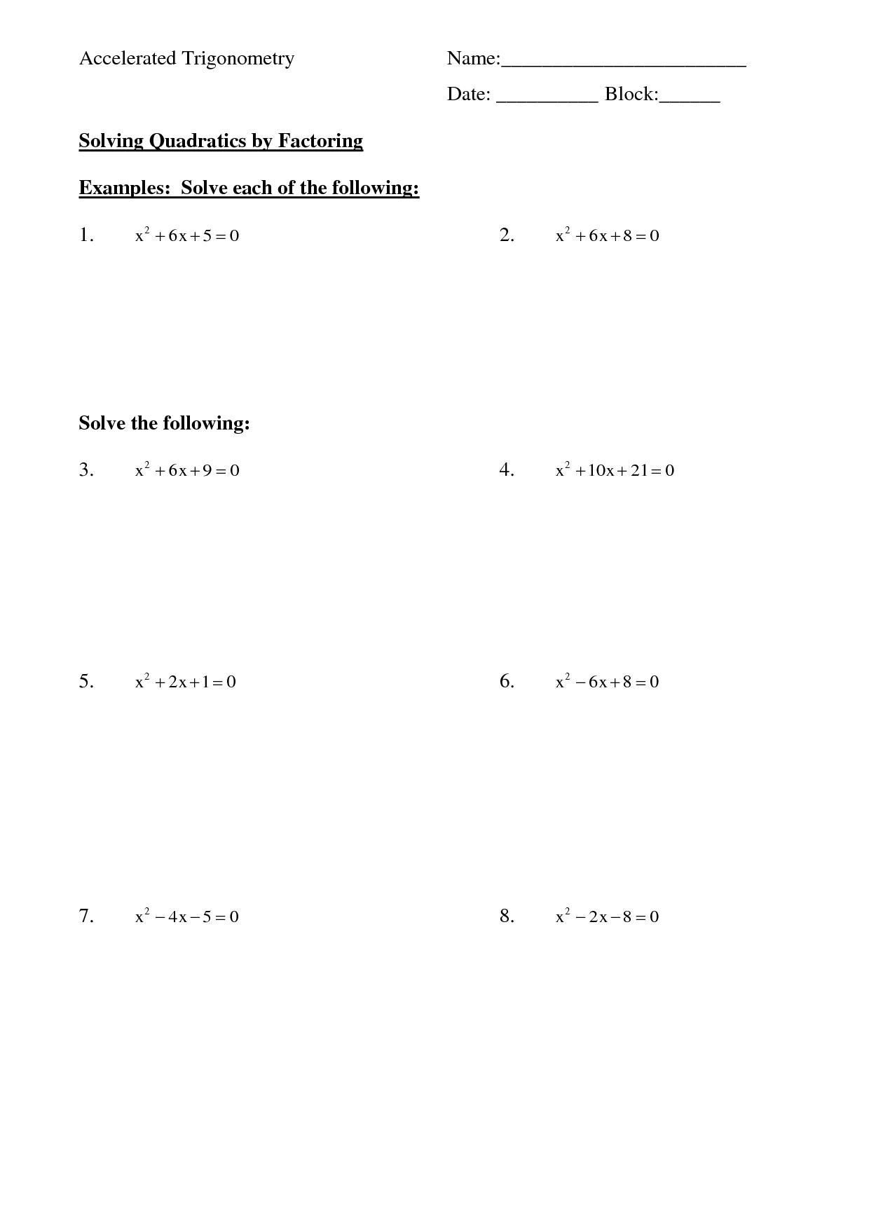 17 Best Images Of Quadratic Equations Worksheet