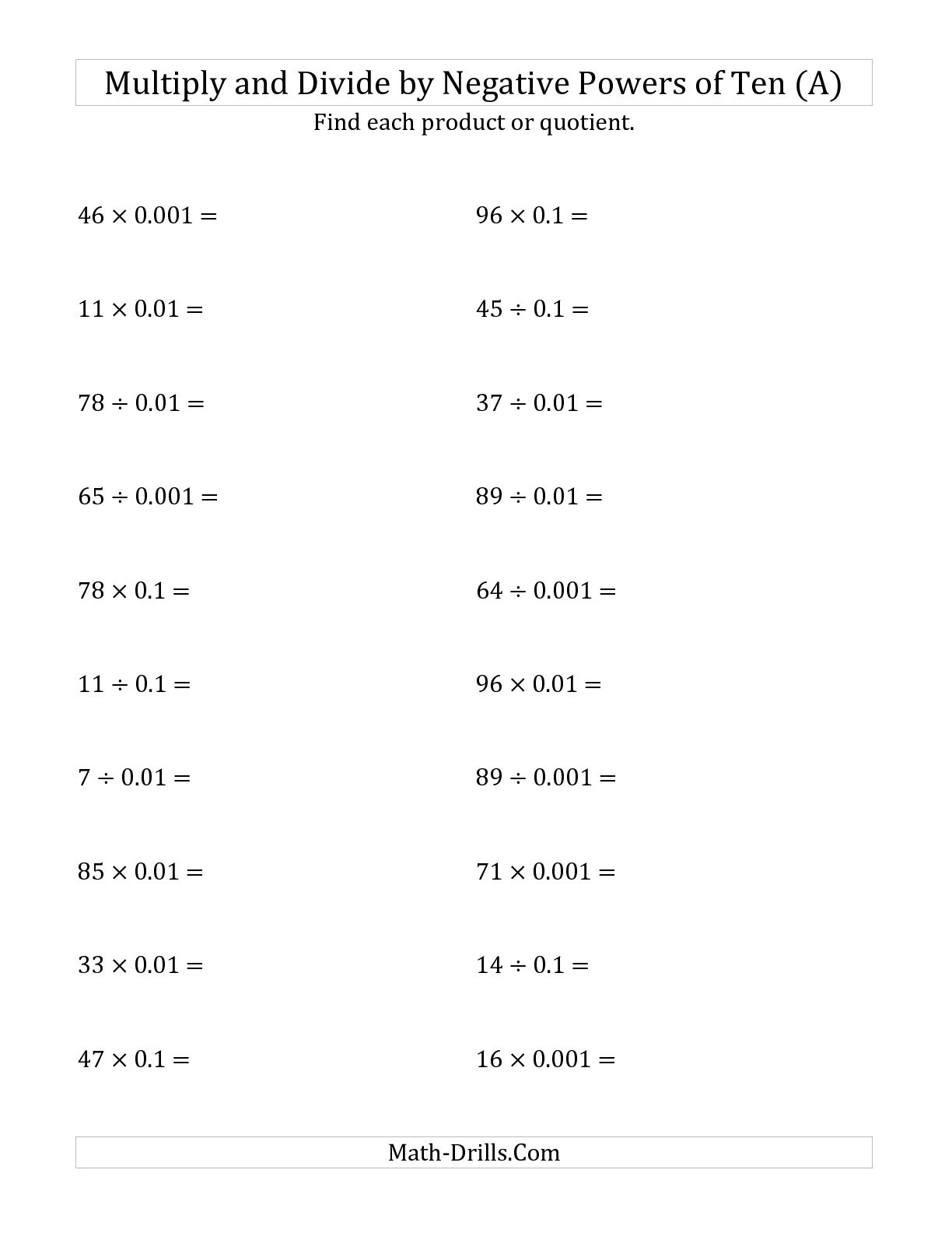 12 Best Images Of Multiplication Of Negative Numbers Worksheet