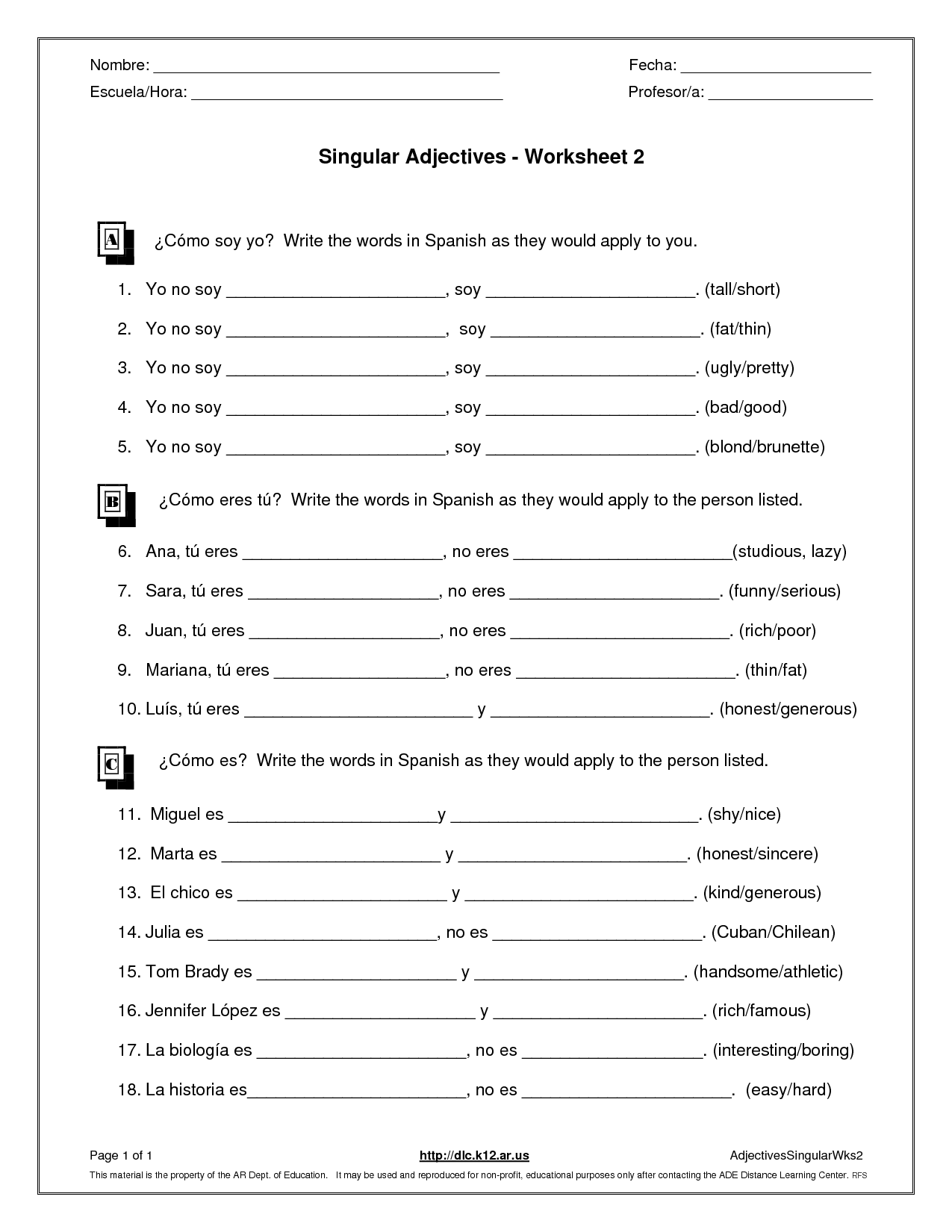 Adjectives Worksheet Grade 3