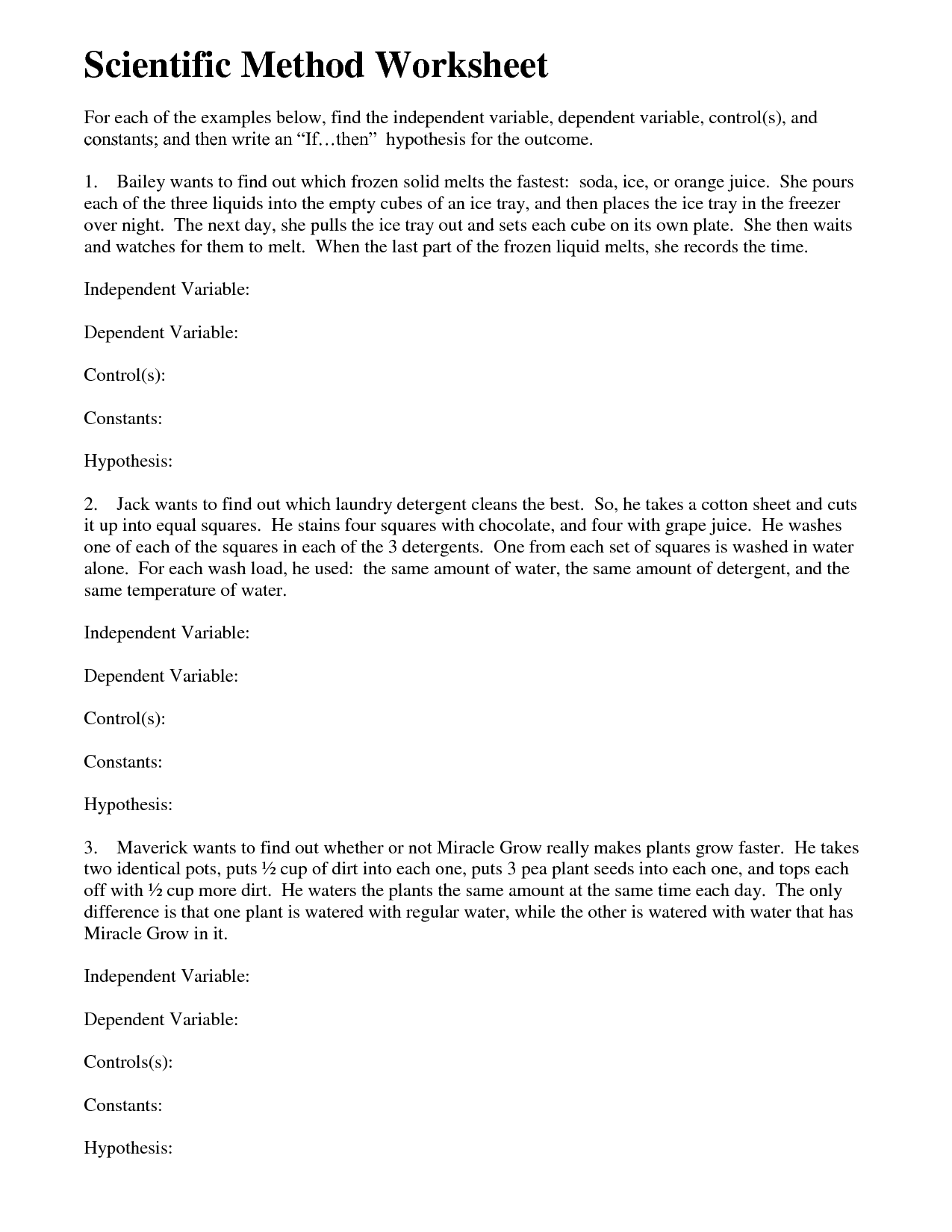12 Best Images Of Science Variables Worksheet