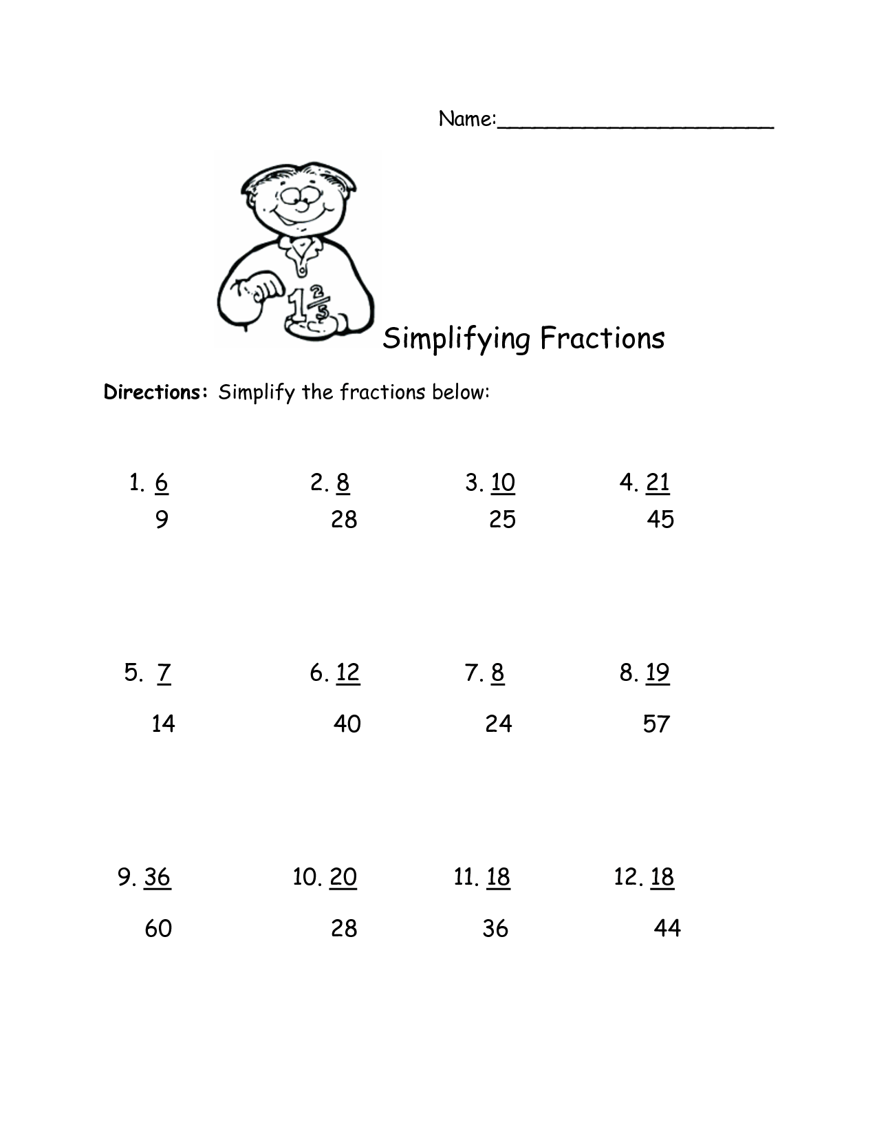 12th Grade Fraction Worksheet