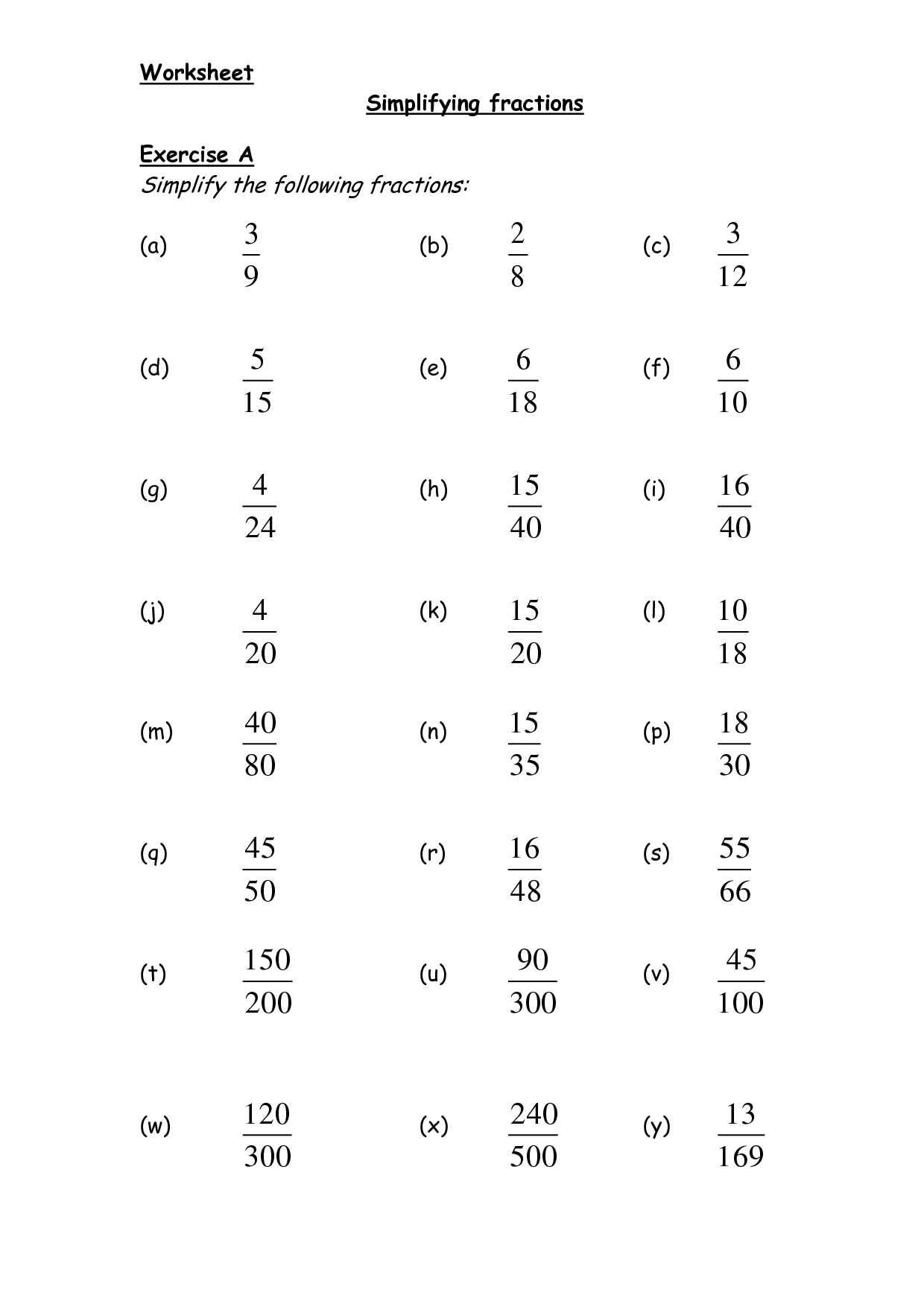 Lowest Terms Worksheets