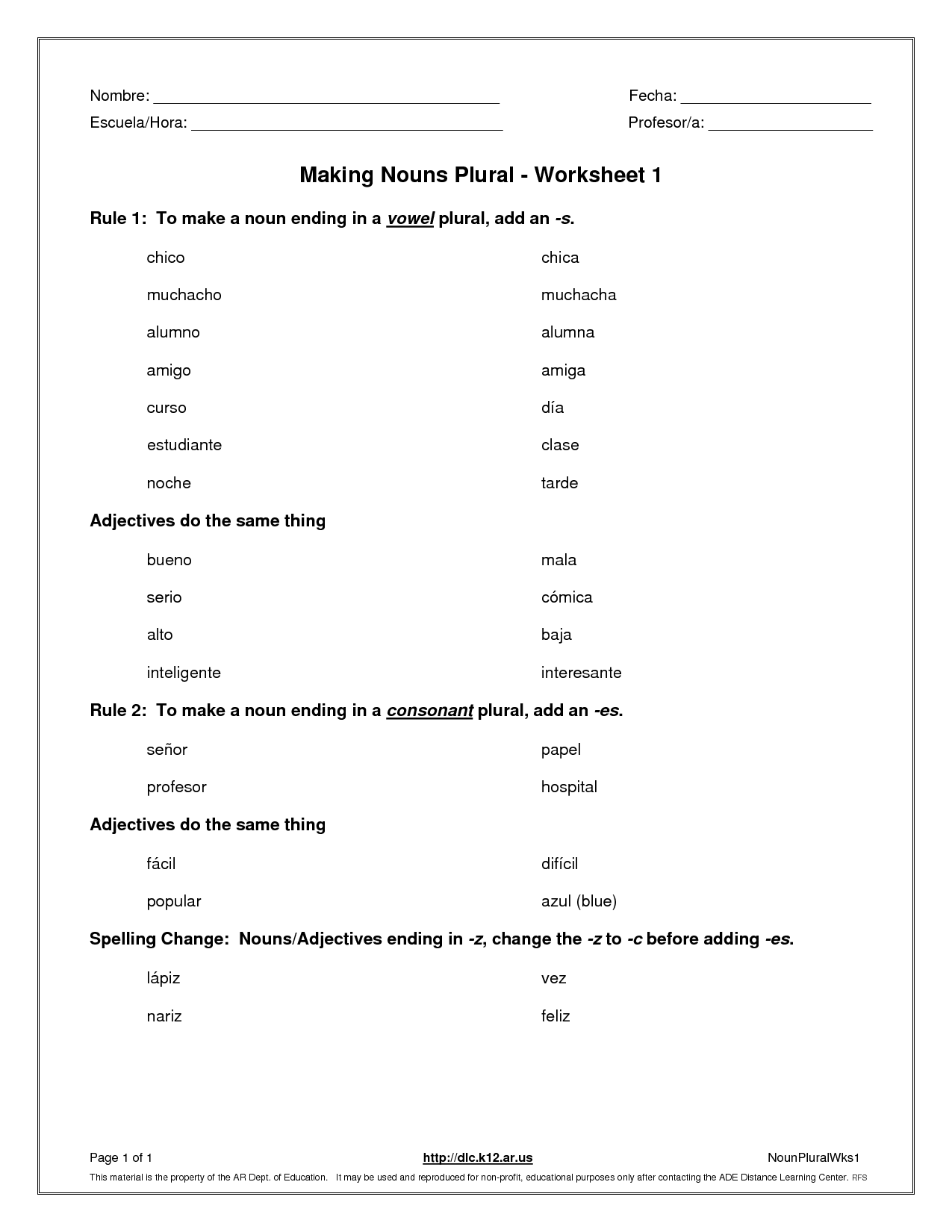 Unique Worksheet Plural Nouns