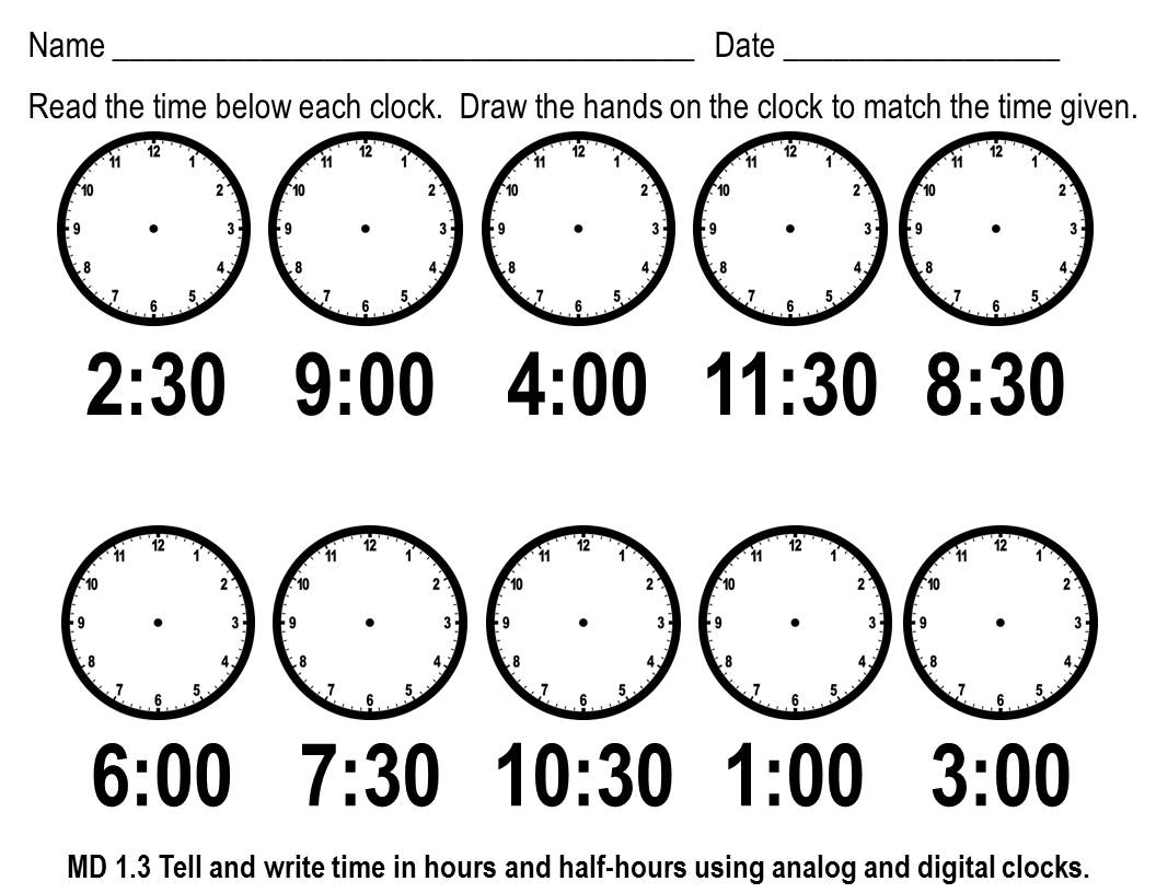 1st Grade Telling Time Worksheets