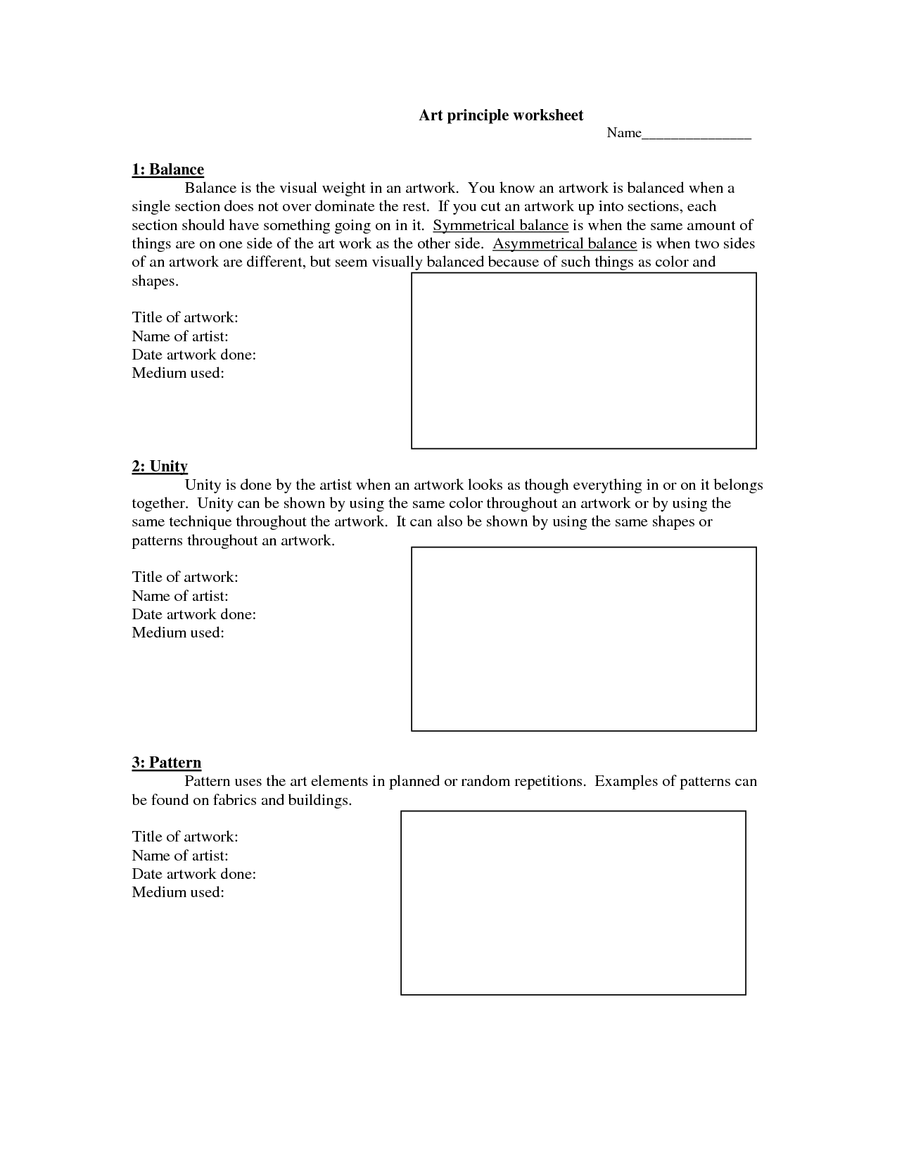 16 Best Images Of Visual Art Worksheets