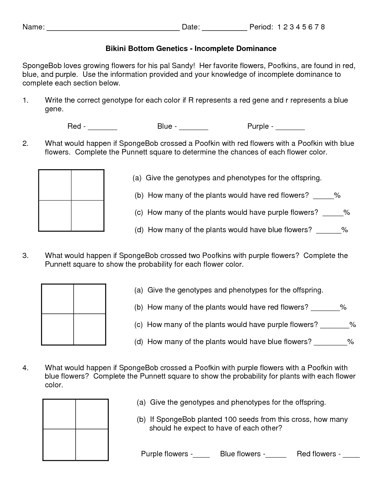 Answers With Worksheet Spongebob Genetics