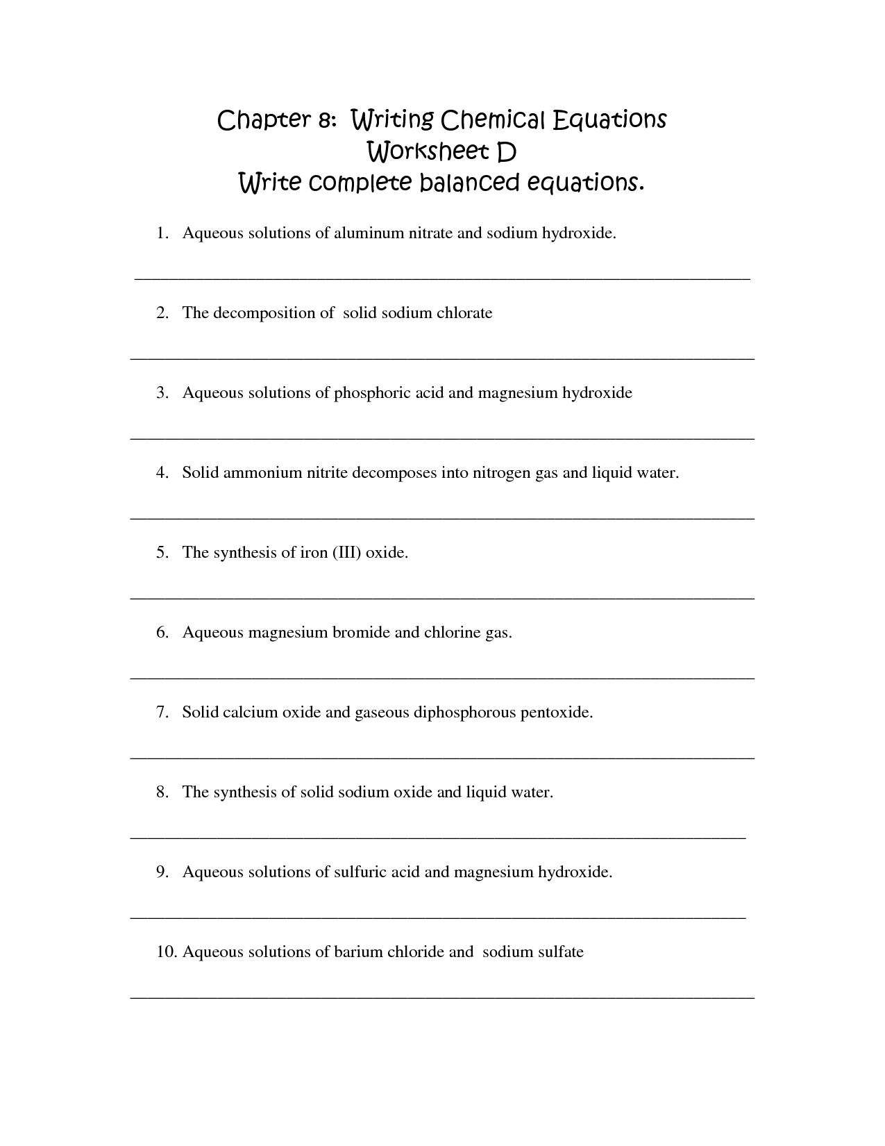 Writing Complete Equations Worksheet