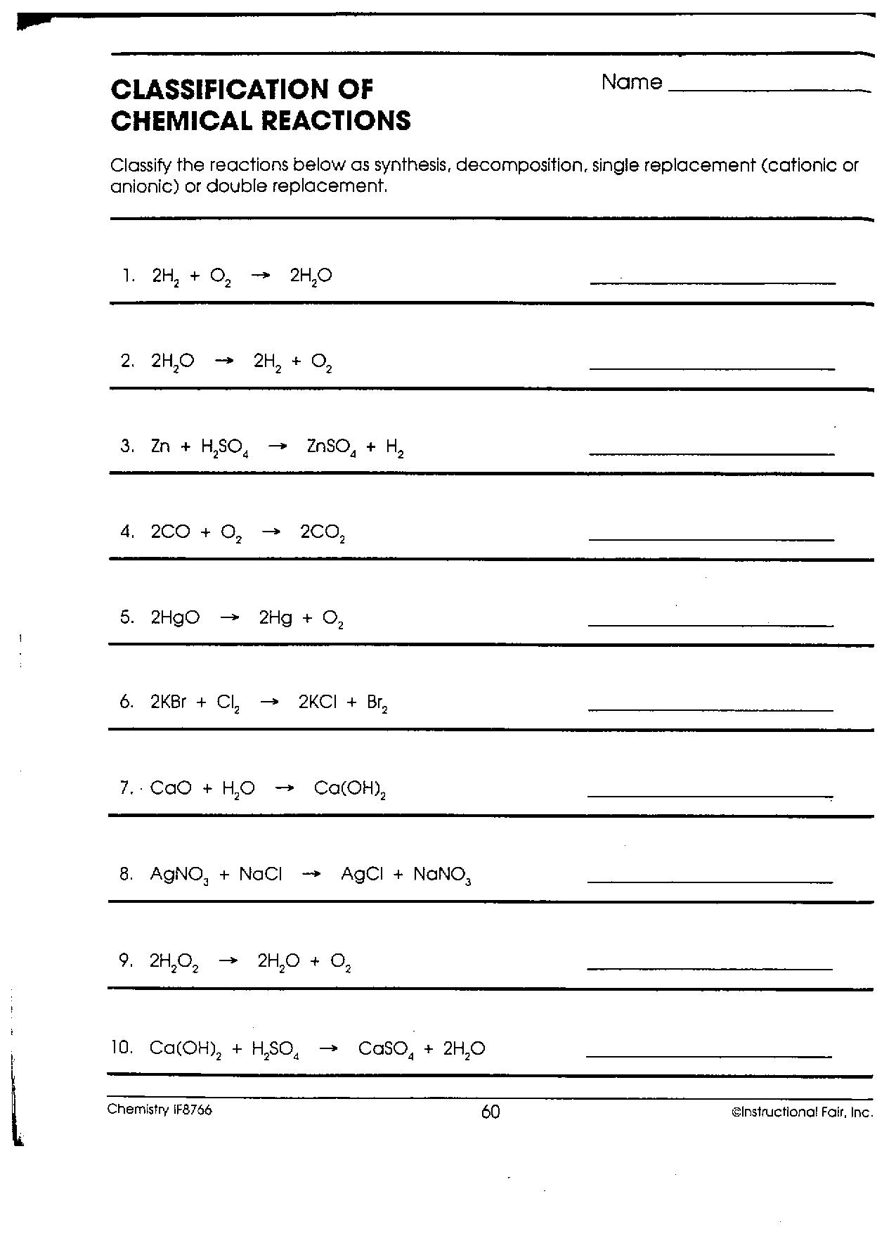 Identify Reaction Types Worksheet