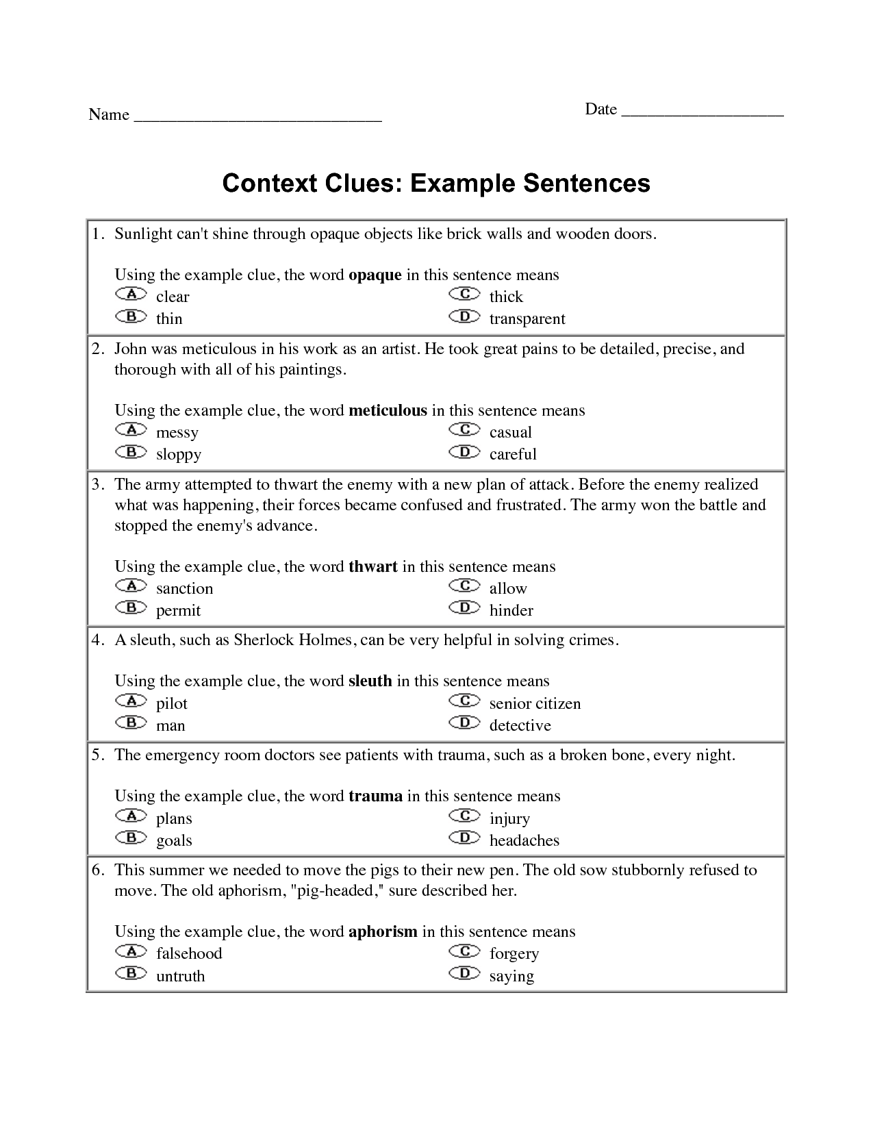 Context Clues Worksheet Grade 5