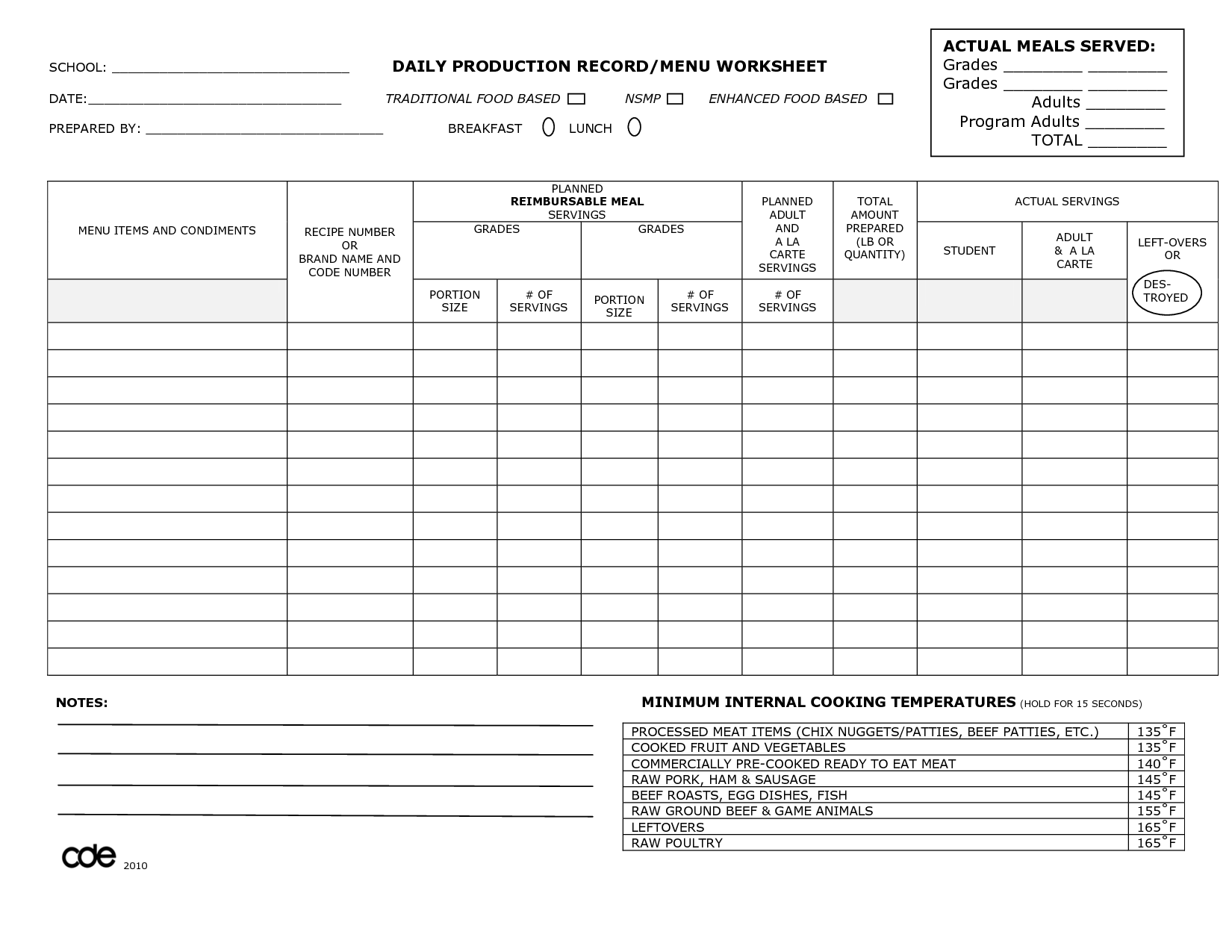 Daily Meals Worksheet