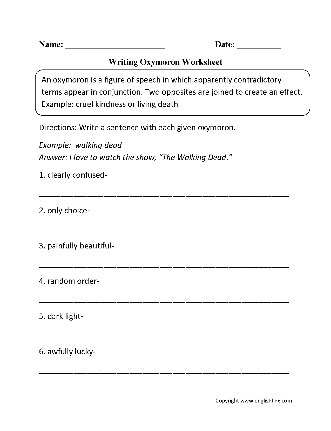 Free Figurative Language Worksheet