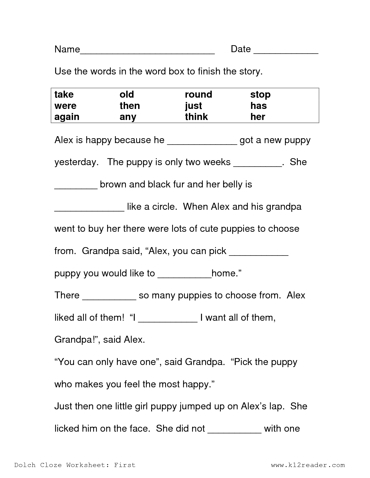 18 Best Images Of Cloze Worksheets First