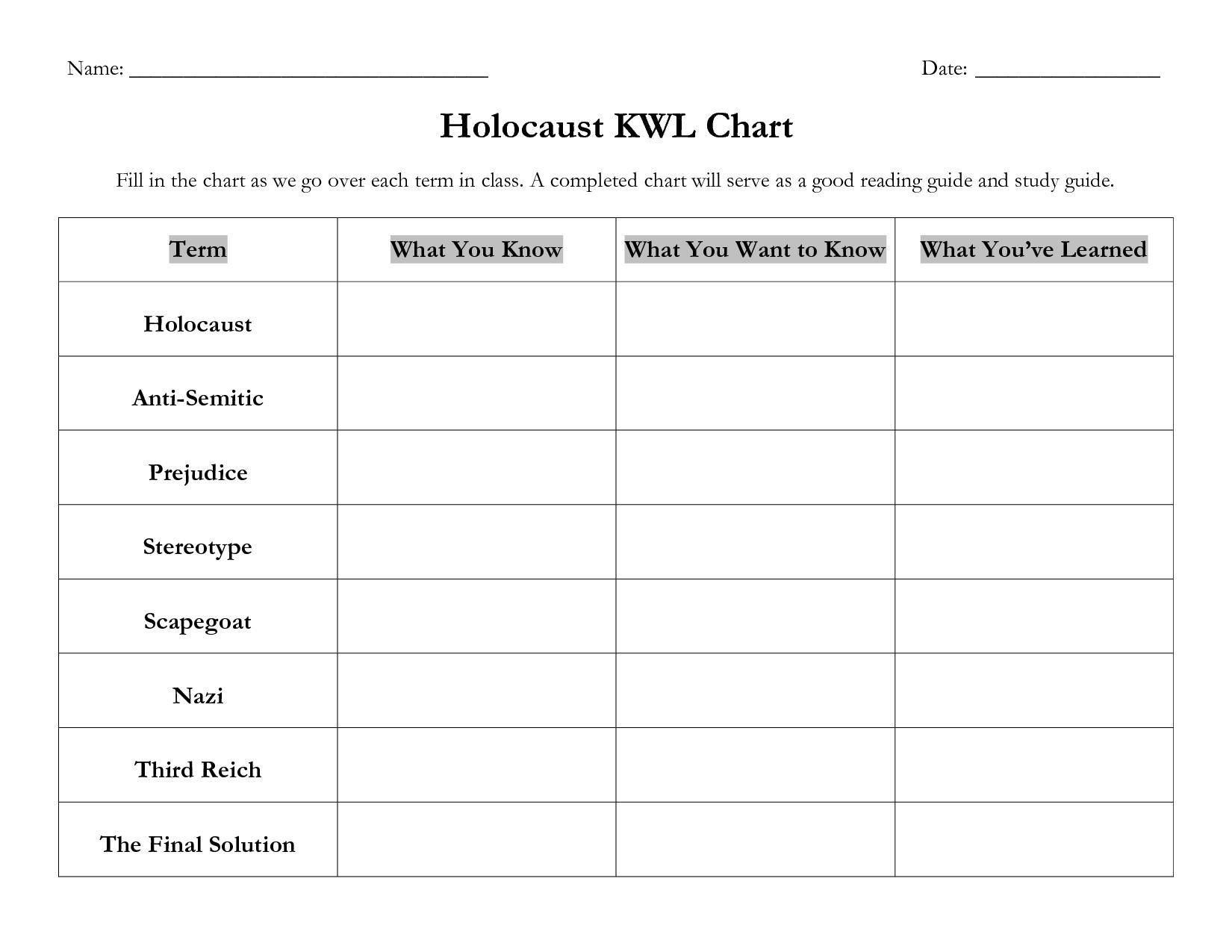 6 Best Images Of Printable Kwl Chart Worksheet