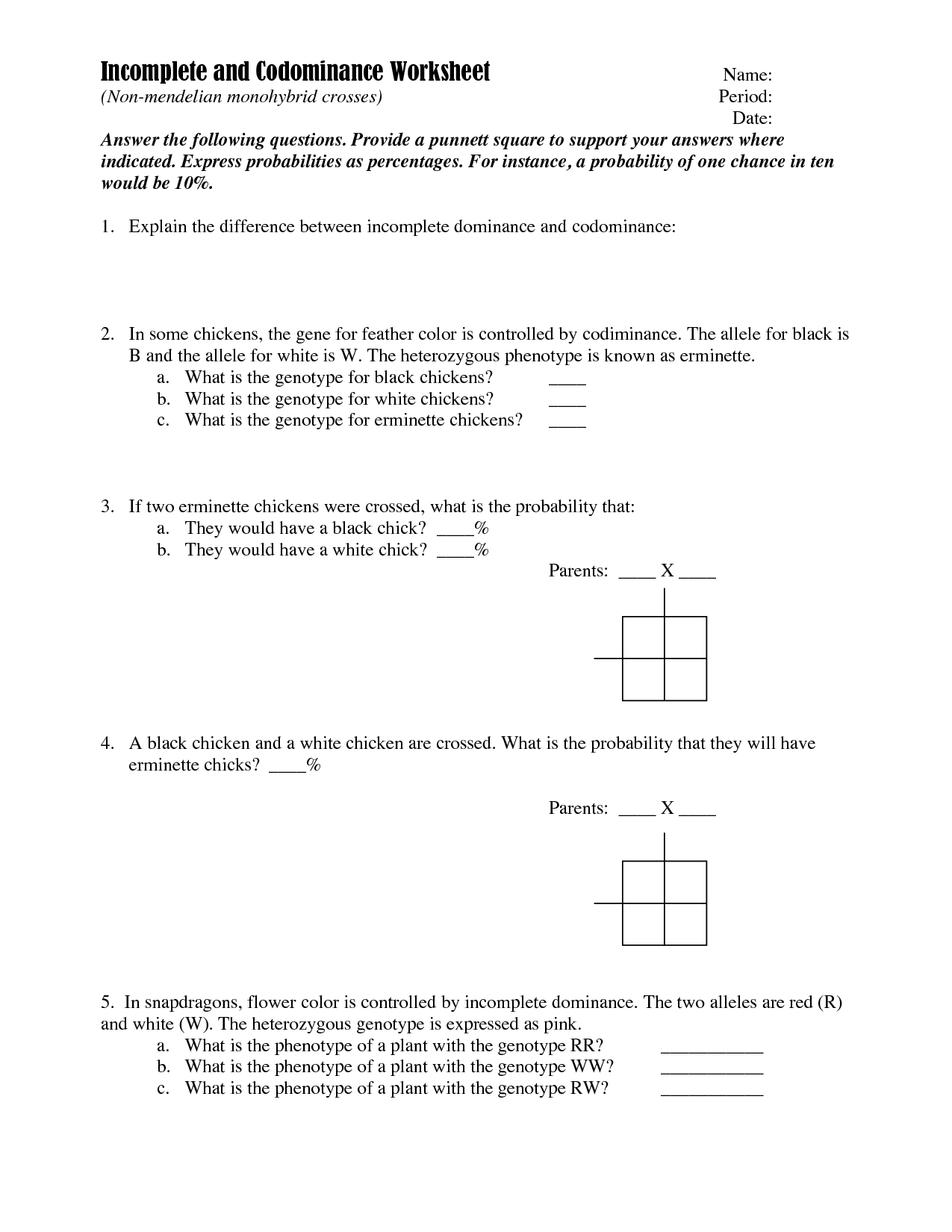 Dyhybrid Problems Worksheet