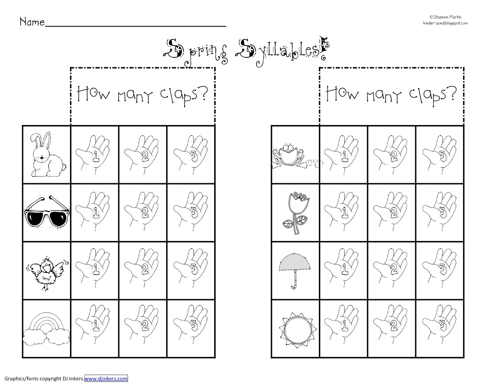 Syllable Worksheets For Pre K