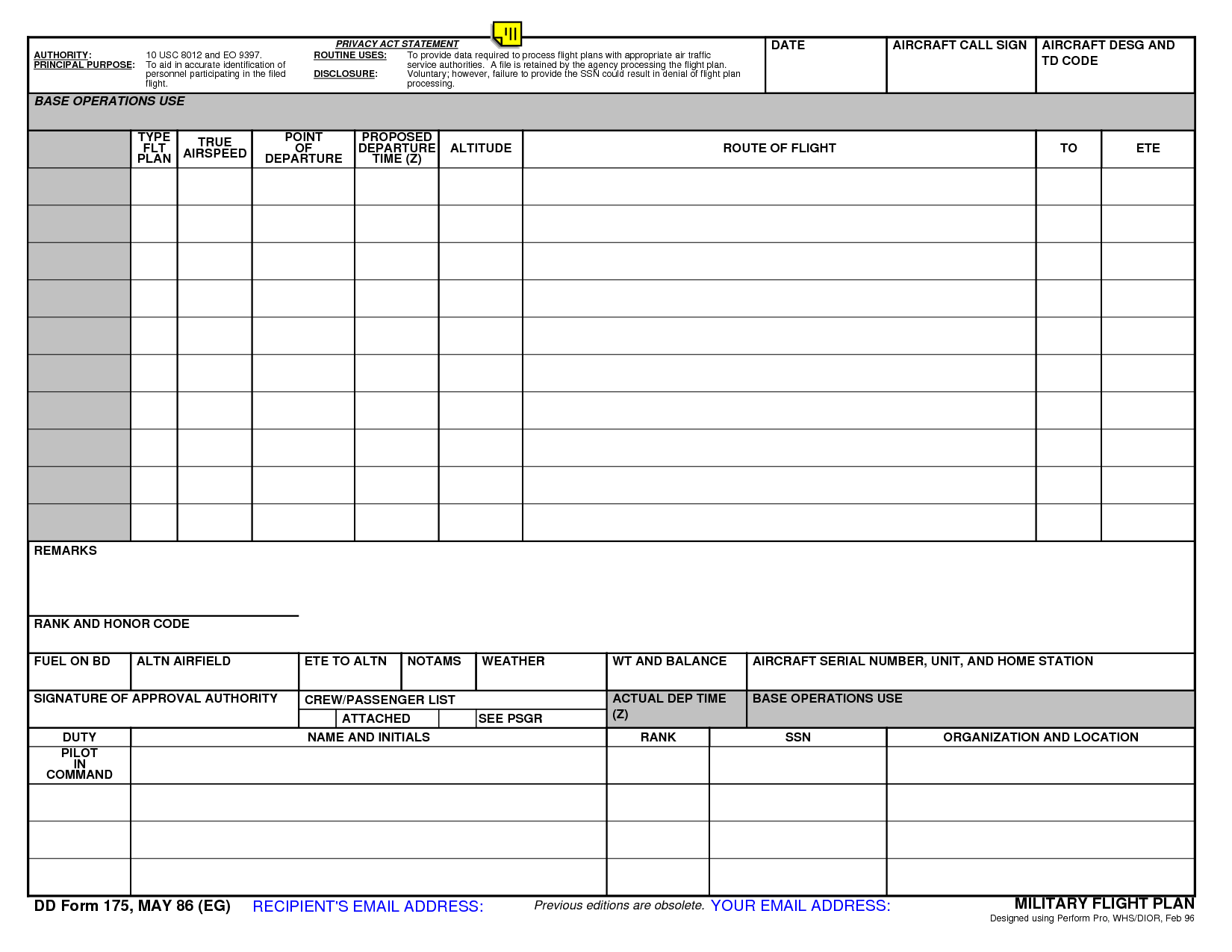 Army Travel Worksheet Template