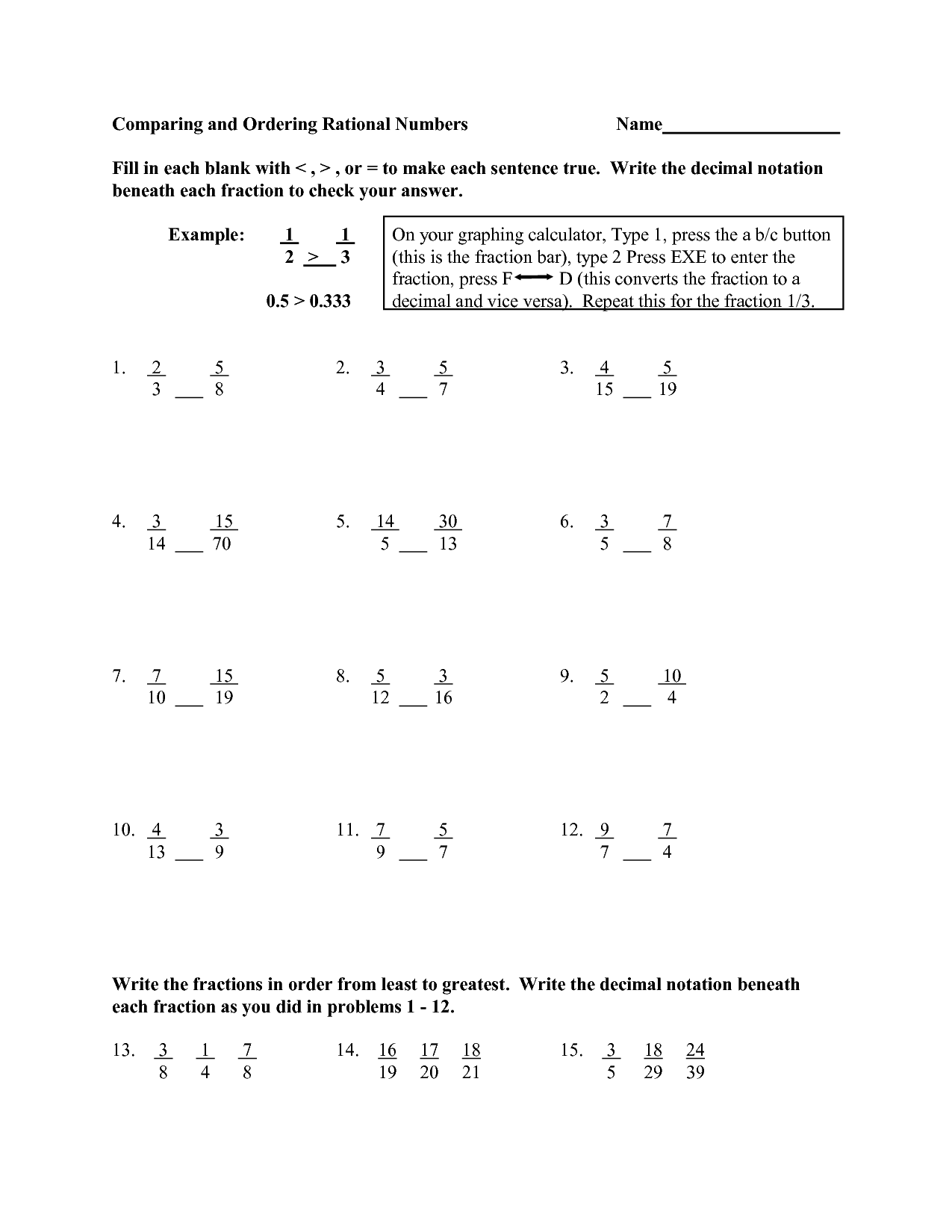 6th Grade Math Worksheet Integers