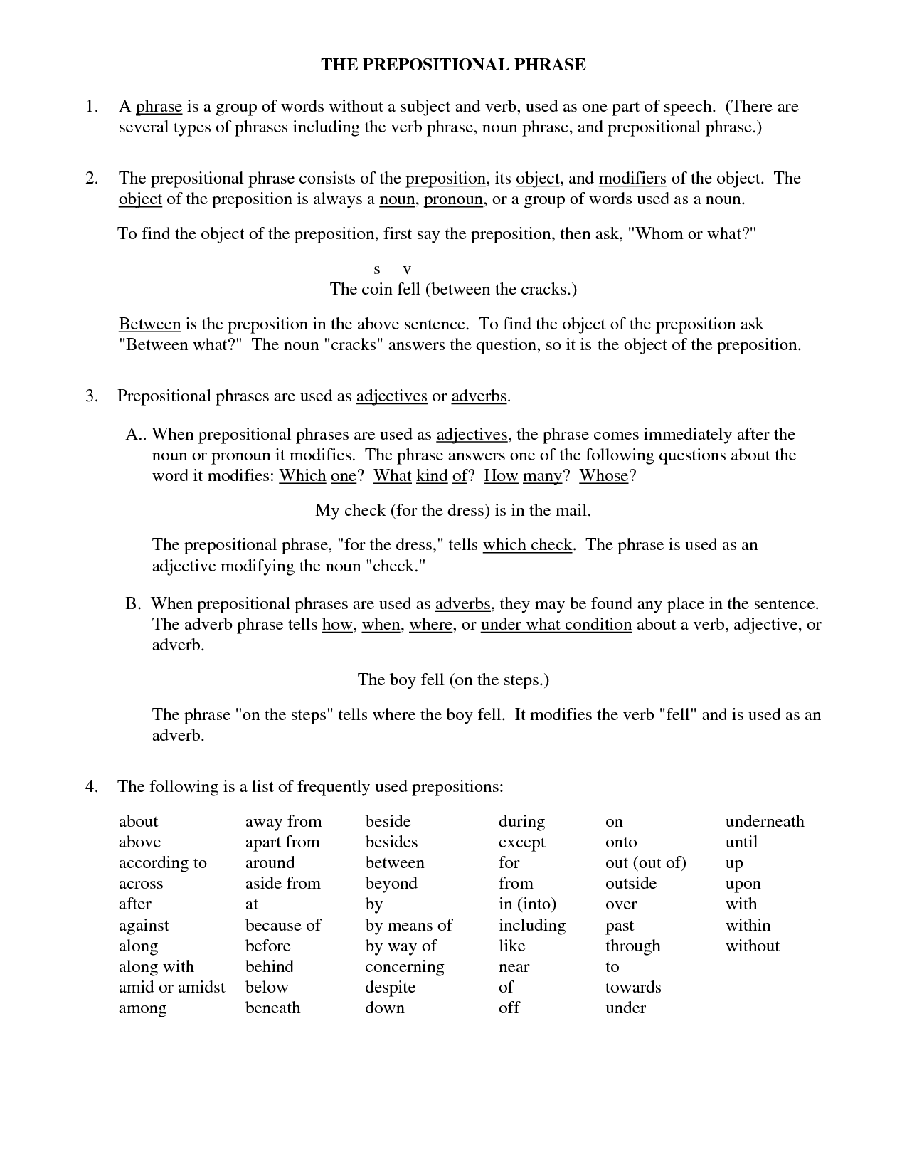 15 Best Images Of Prepositions Prepositional Phrases Worksheet