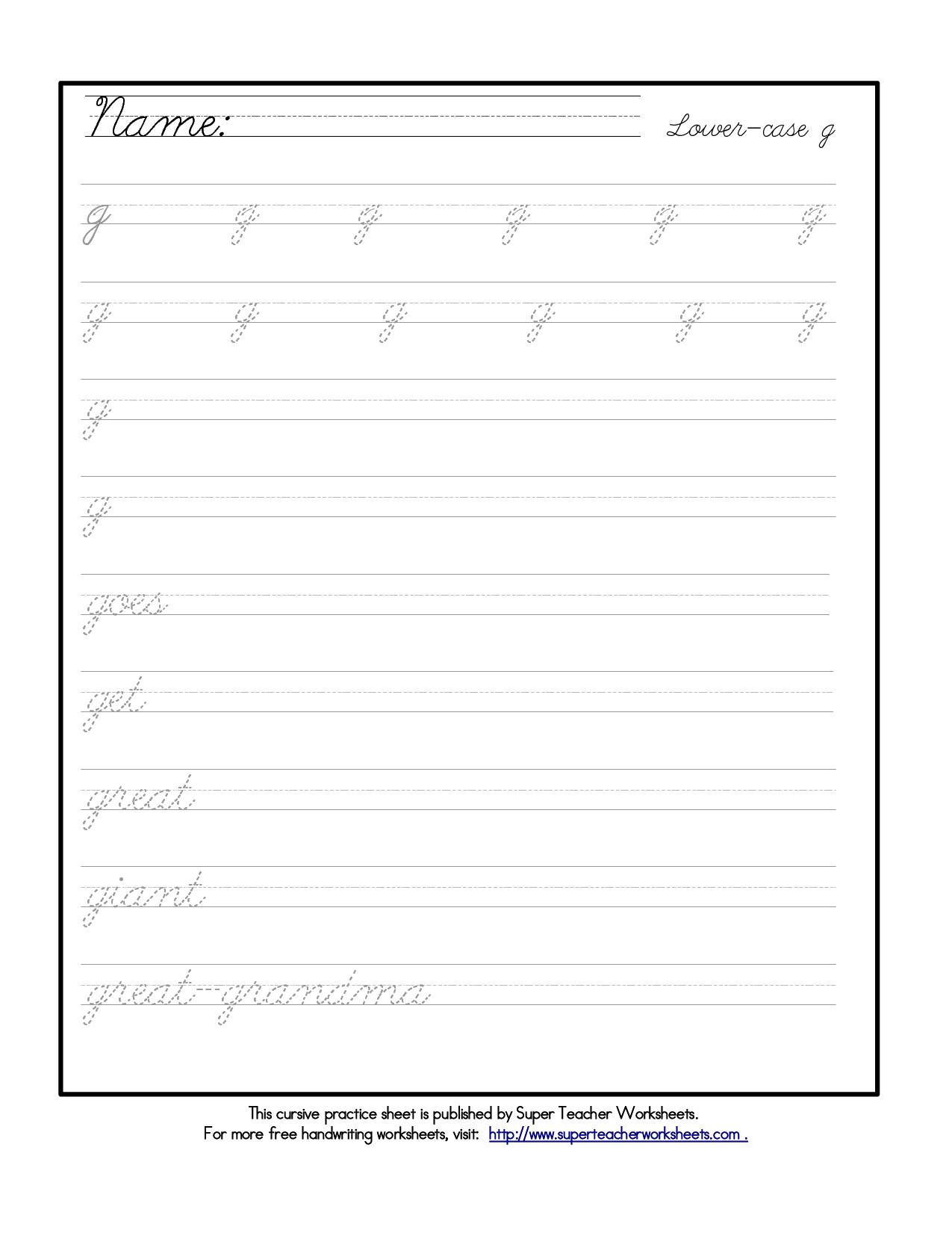Cursive Handwriting Worksheets For 2nd Graders