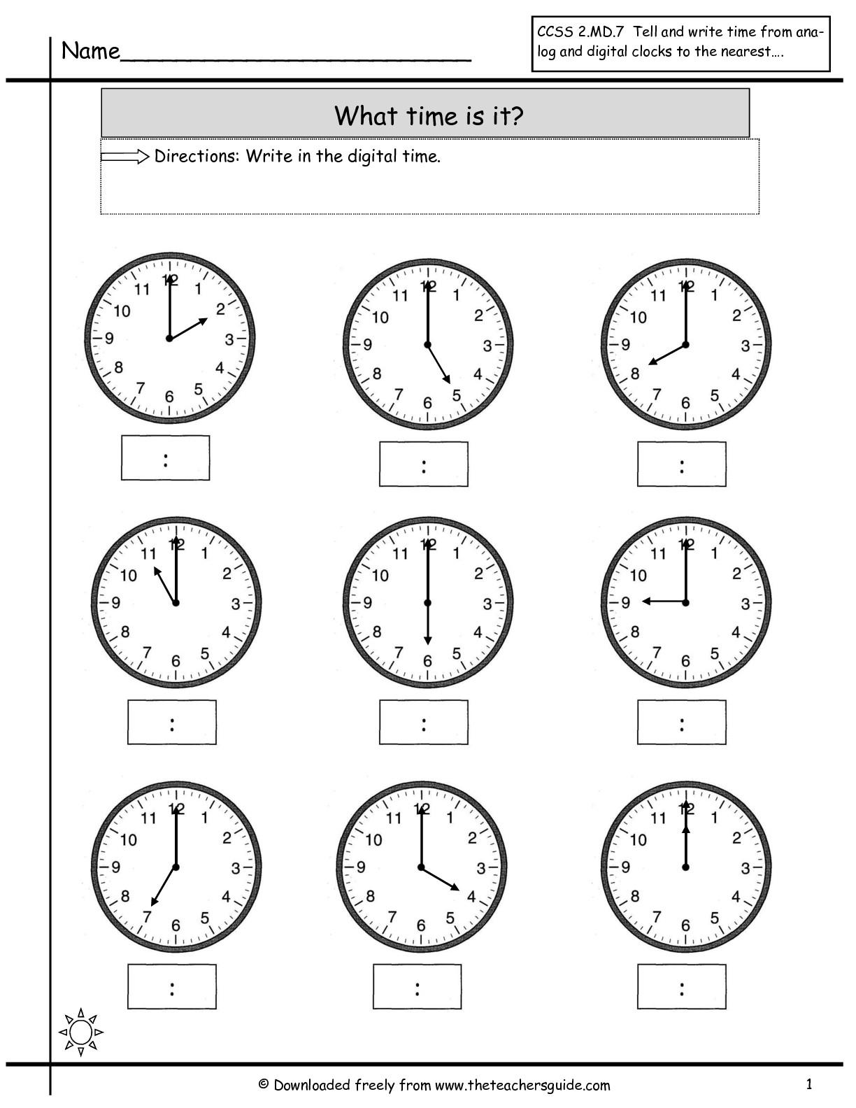 Matching Teaching Time Worksheet For Kindergarten