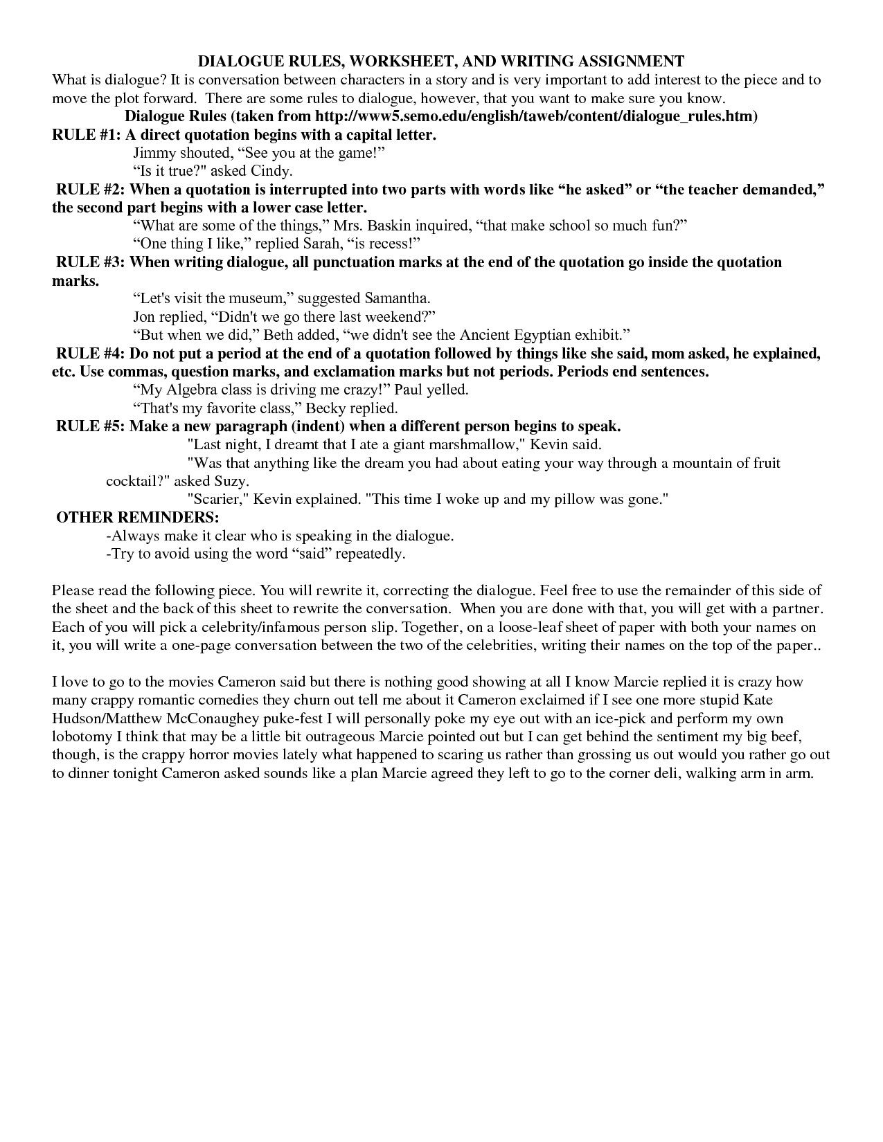 16 Best Images Of Editing Dialogue Worksheet